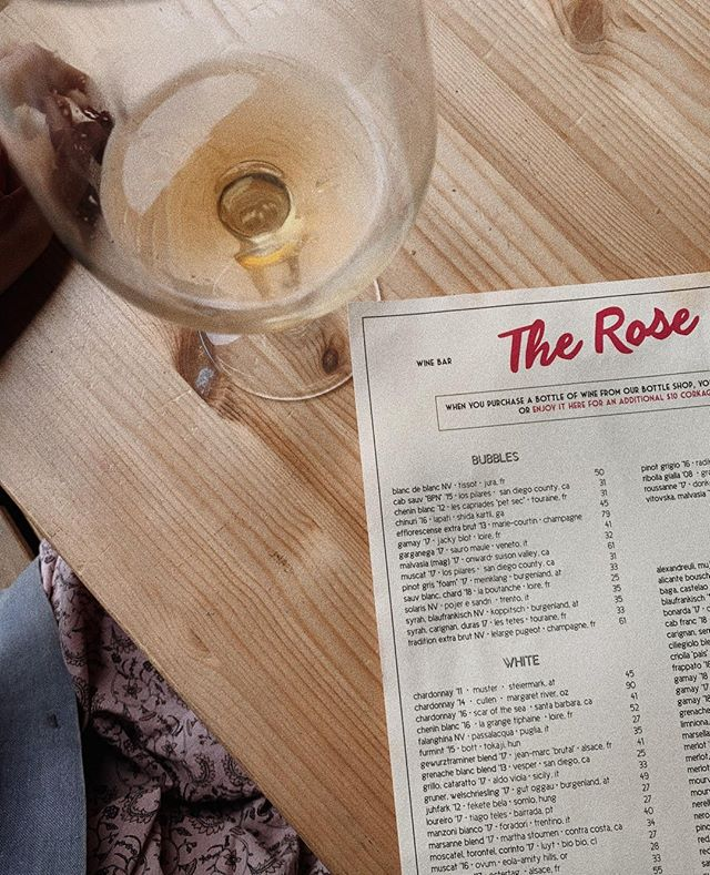 THE ROSE: A go-to for natural wine in San Diego, @therosesouthpark serves a variety of interesting, biodynamic favorites (plus plenty you've never heard of before). Stop by for brunch, dinner or just a light bite. #thebellwether #localsguide #southpark