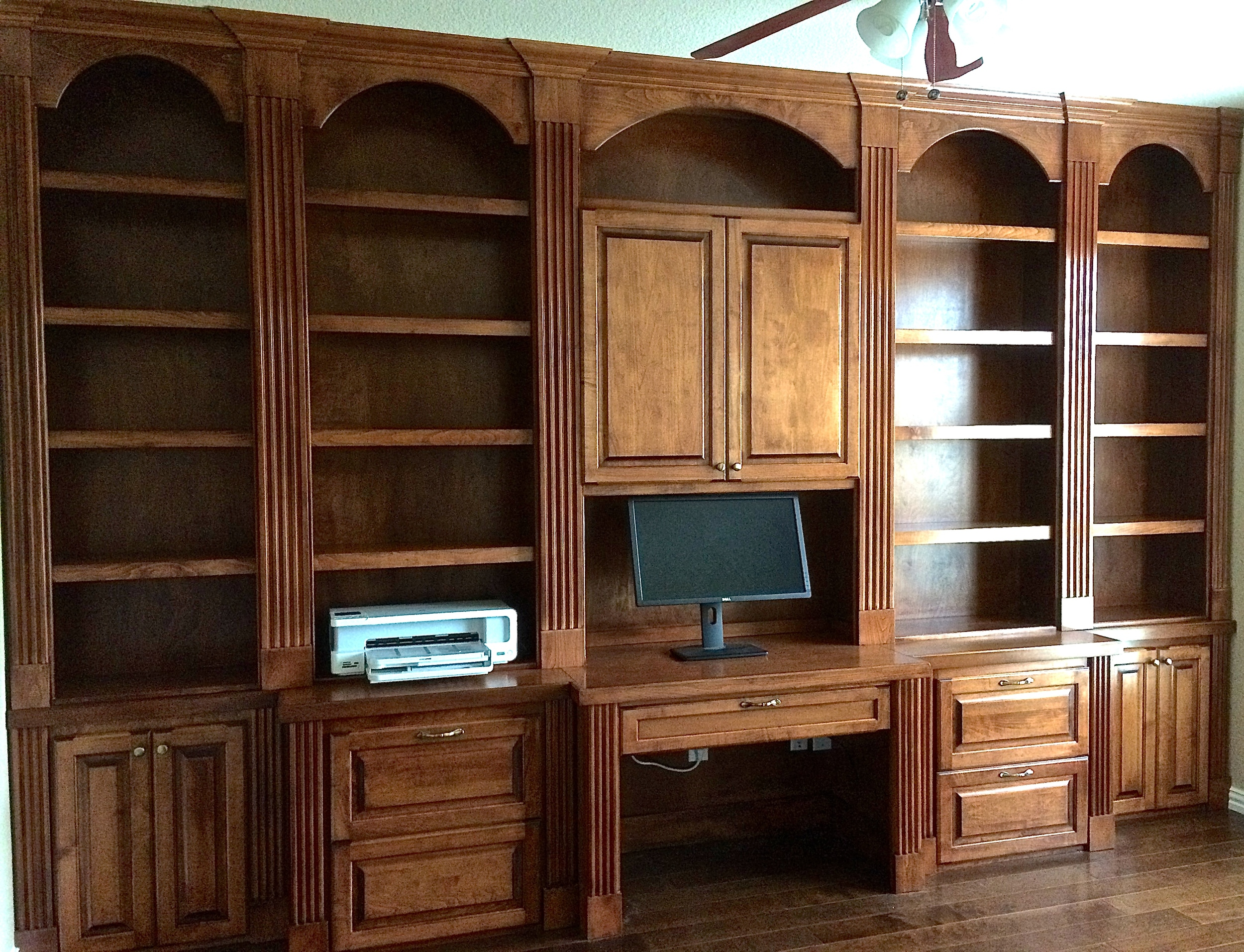 Stained Maple Bookcase on Credenza with Fluted Pilasters and Desk
