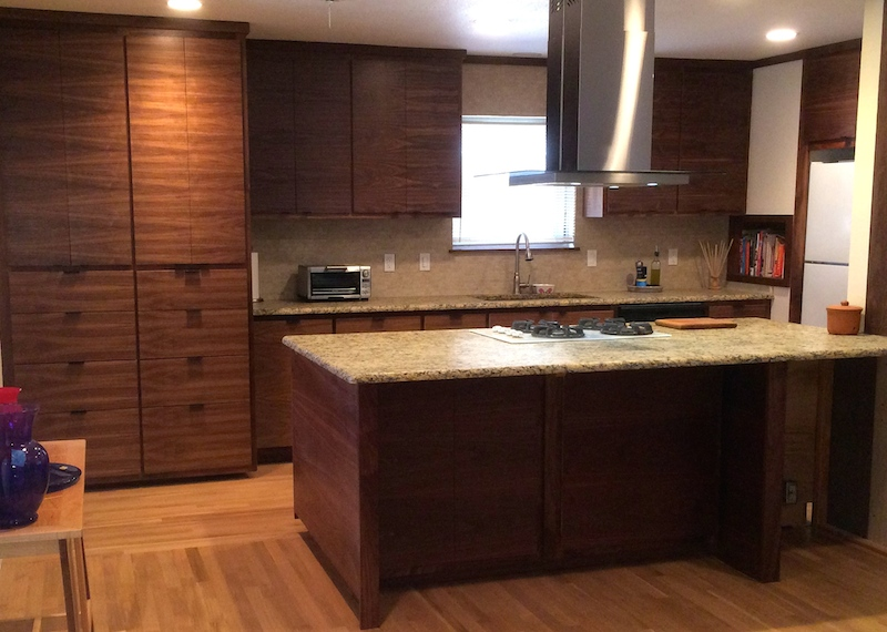 Contemporary Matched Grain Walnut Kitchen