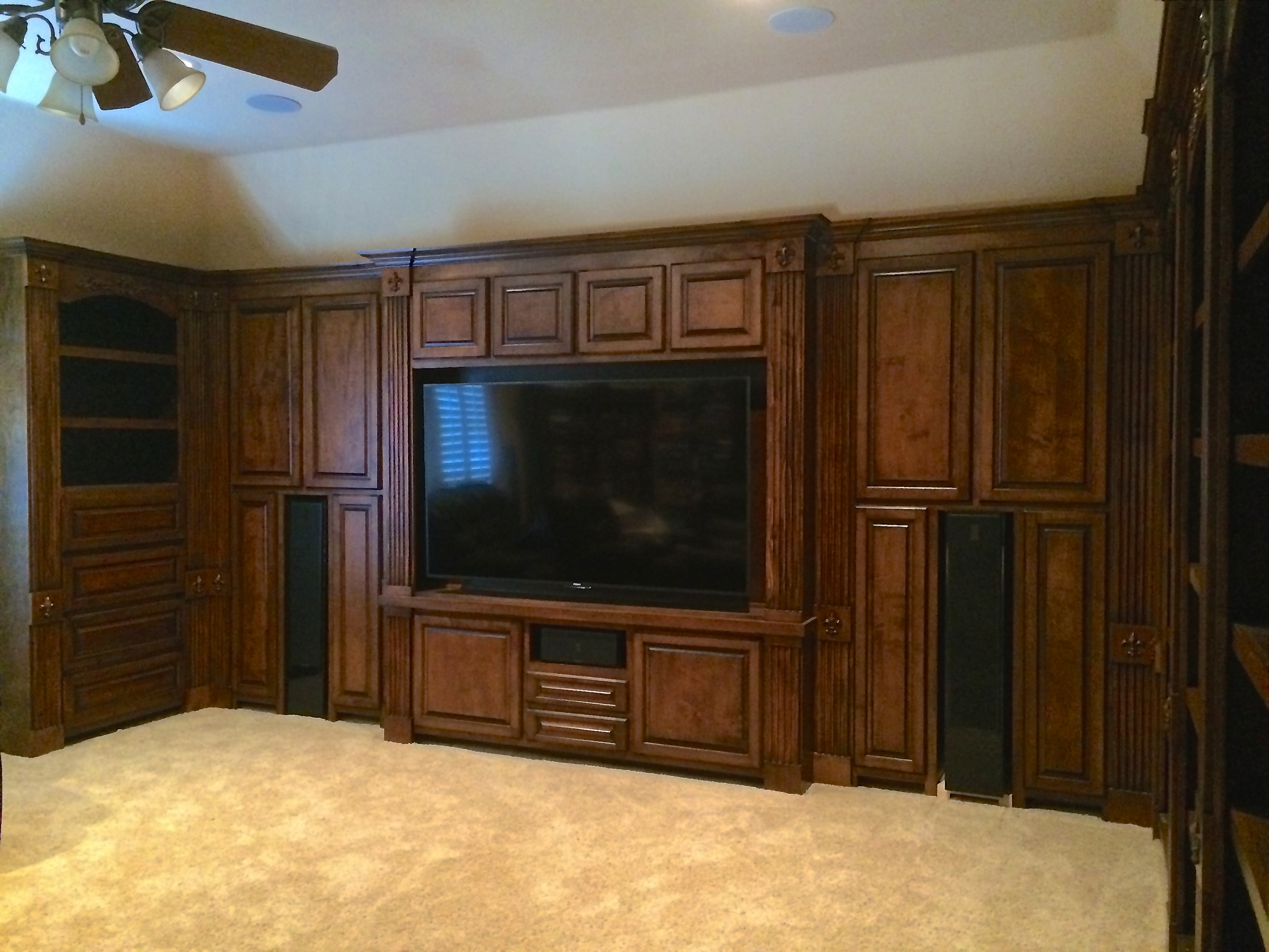 Raised Panel Media Center with Closed Storage and Open Bookshelves