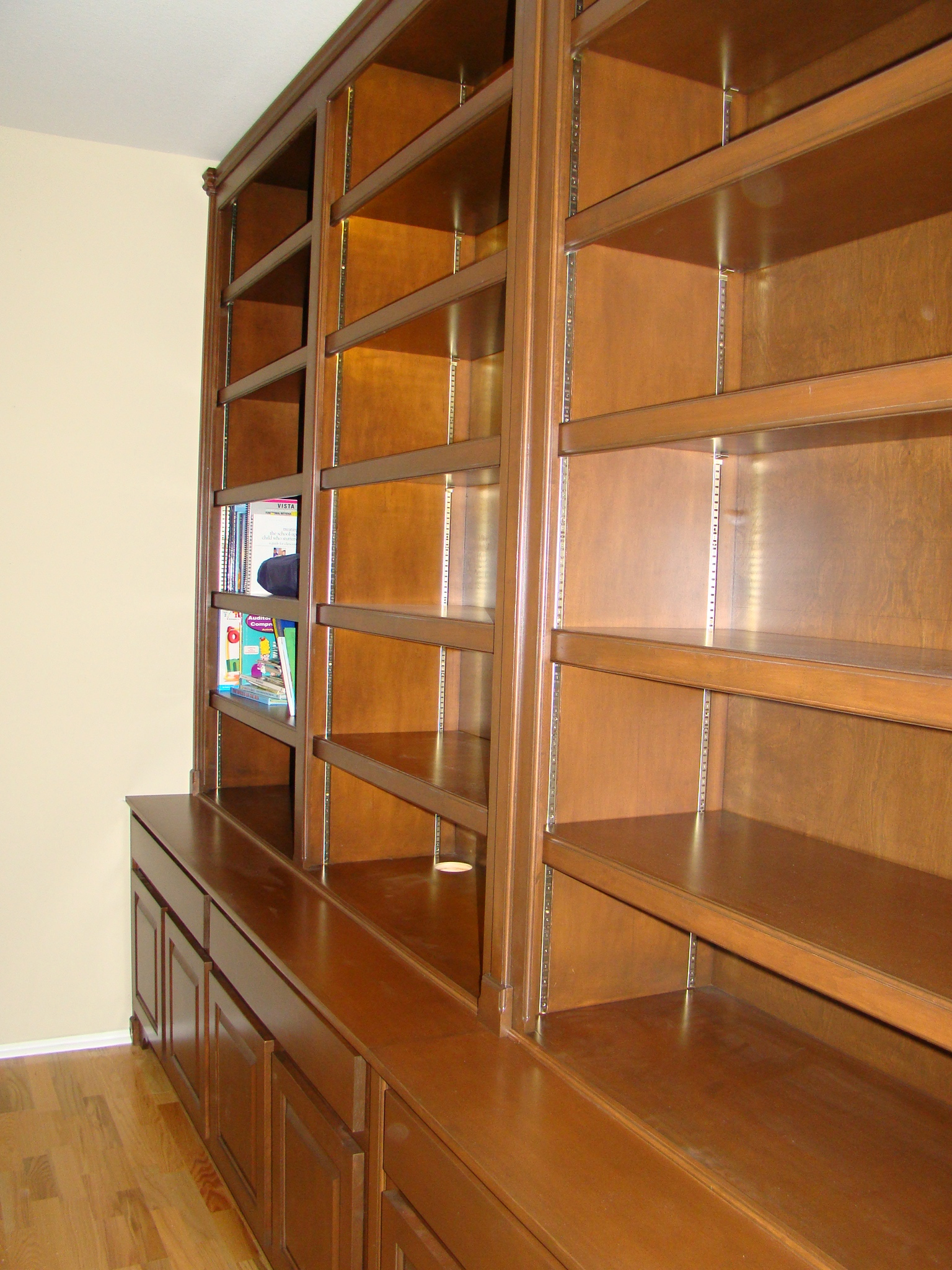 Stained Maple Bookcase with Pilasters on a Traditional Credenza
