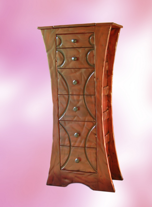 Carved Distressed Mahogany Lingerie Chest