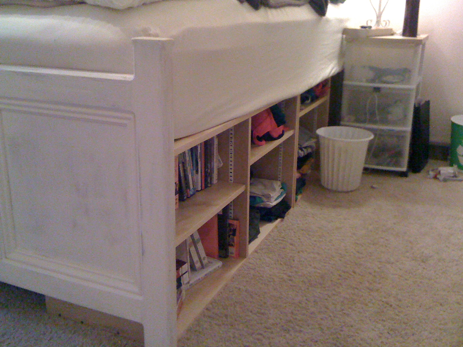 Platform Bed with Bookshelves and Storage