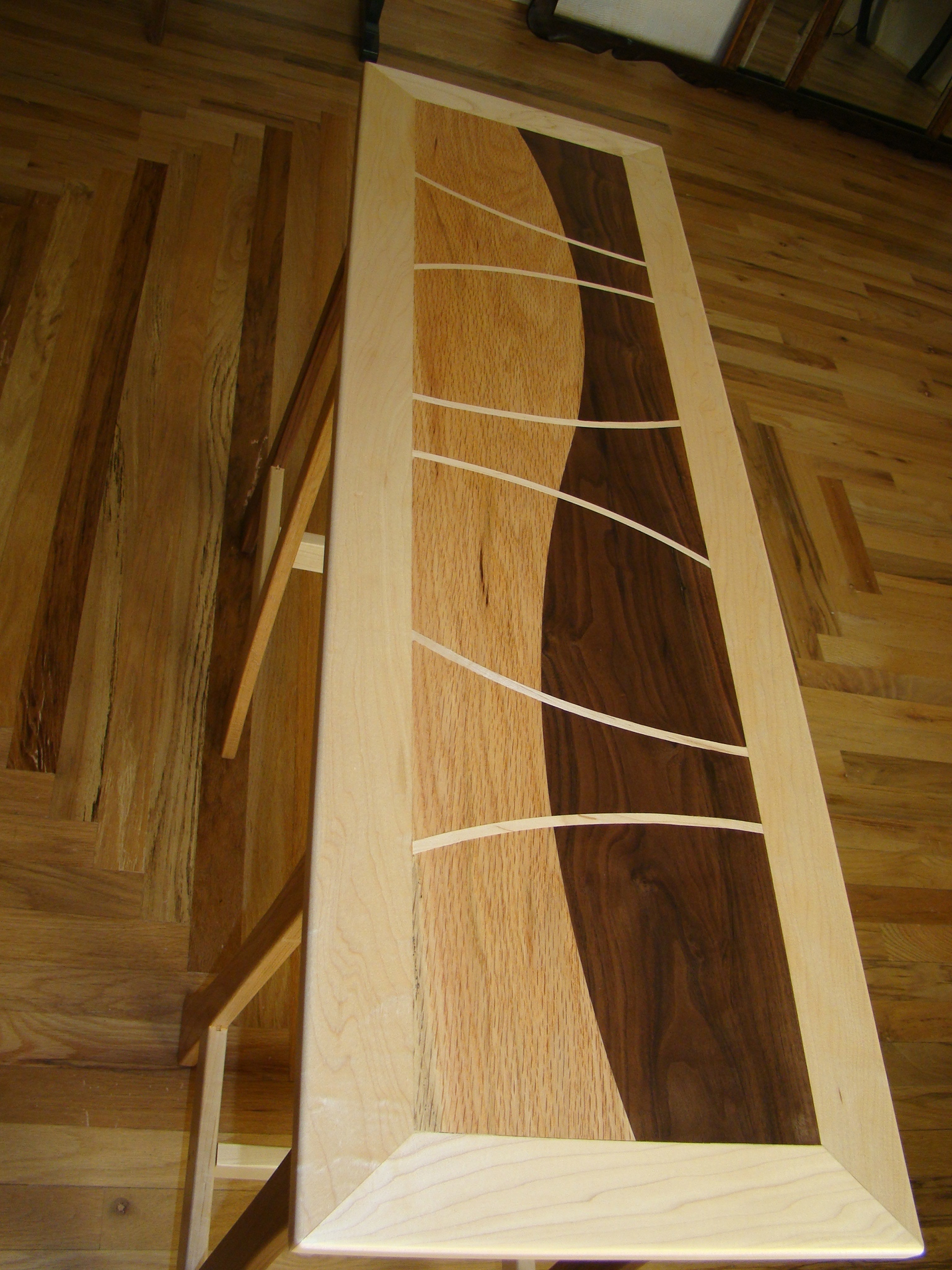 Walnut and Red Oak Inlaid Sofa Table