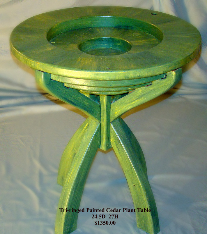 Tri-Ringed Painted Cedar Plant Table