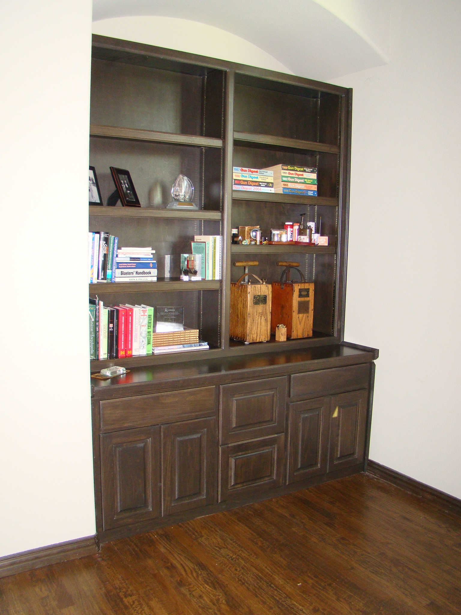 Dark Stained Maple Bookcase with Adjustable Shelves on a Traditional Raised Pane