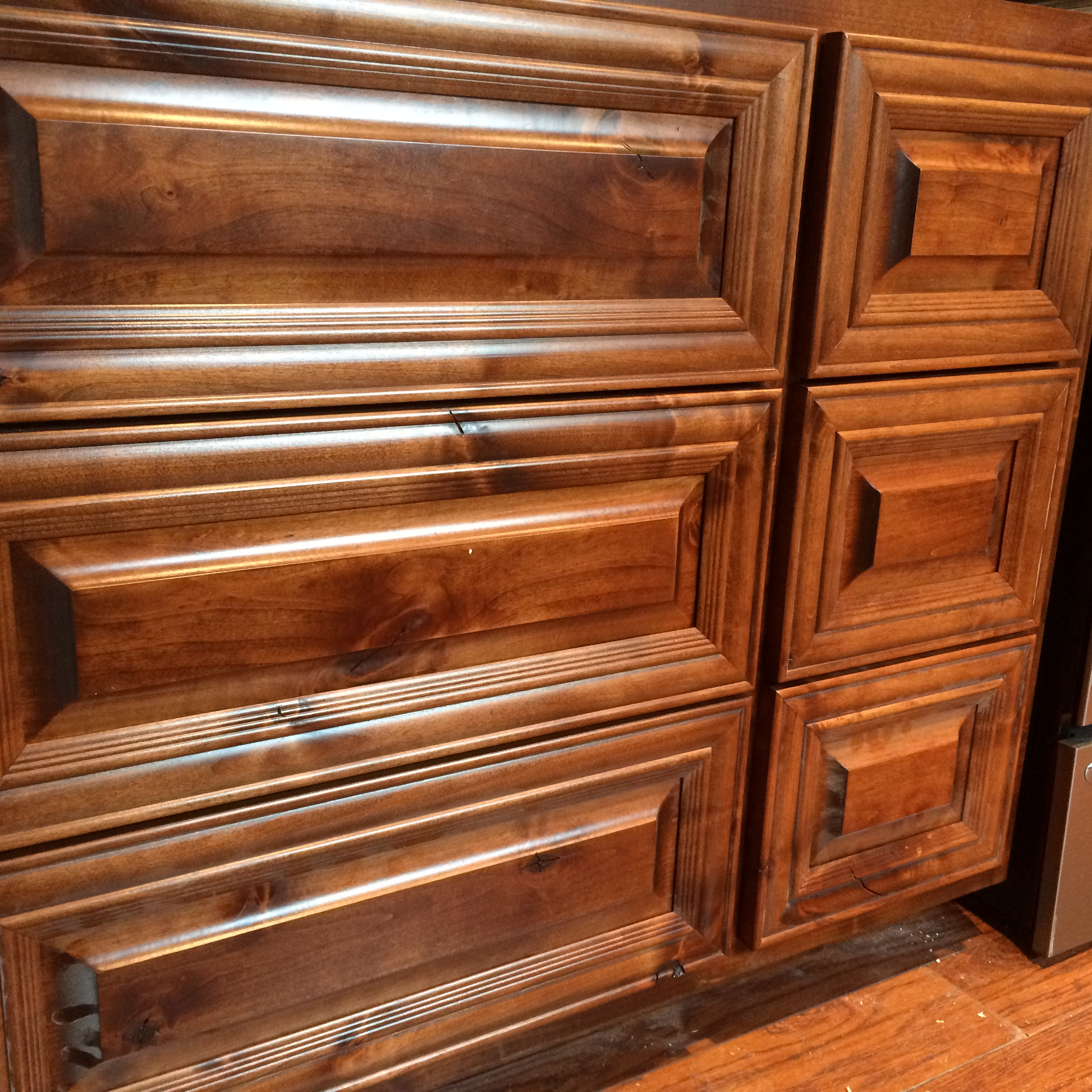Six drawer Knotty Alder Base cabinet