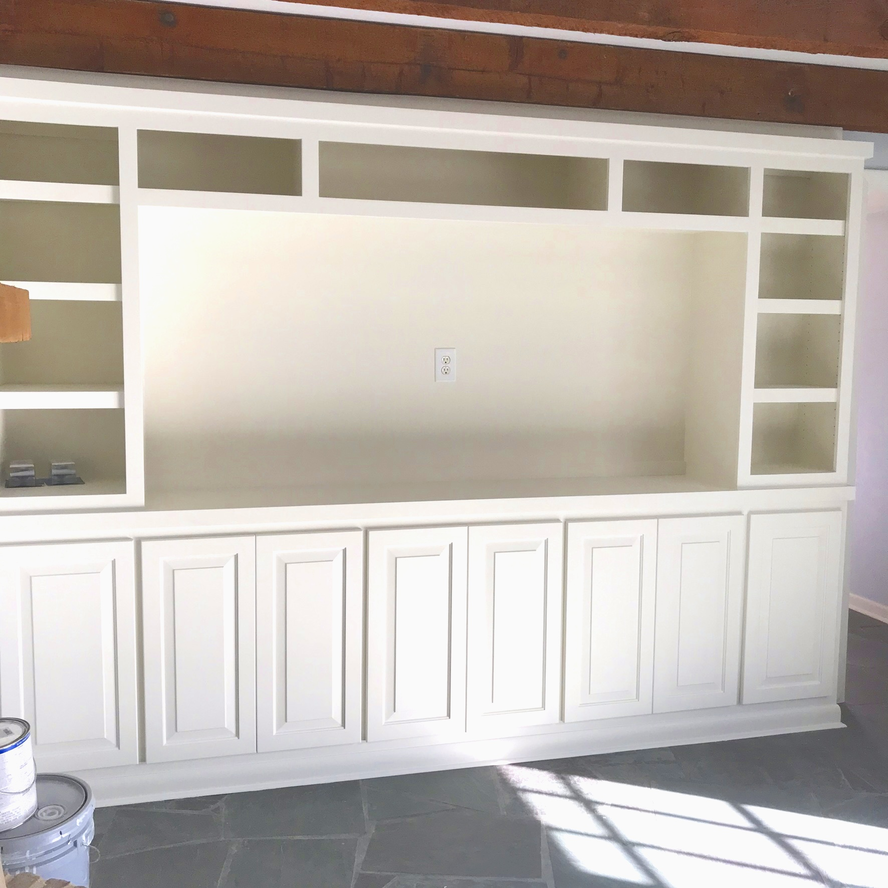 Painted Traditional Entertainment Center With Open Shelving and Closed Storage