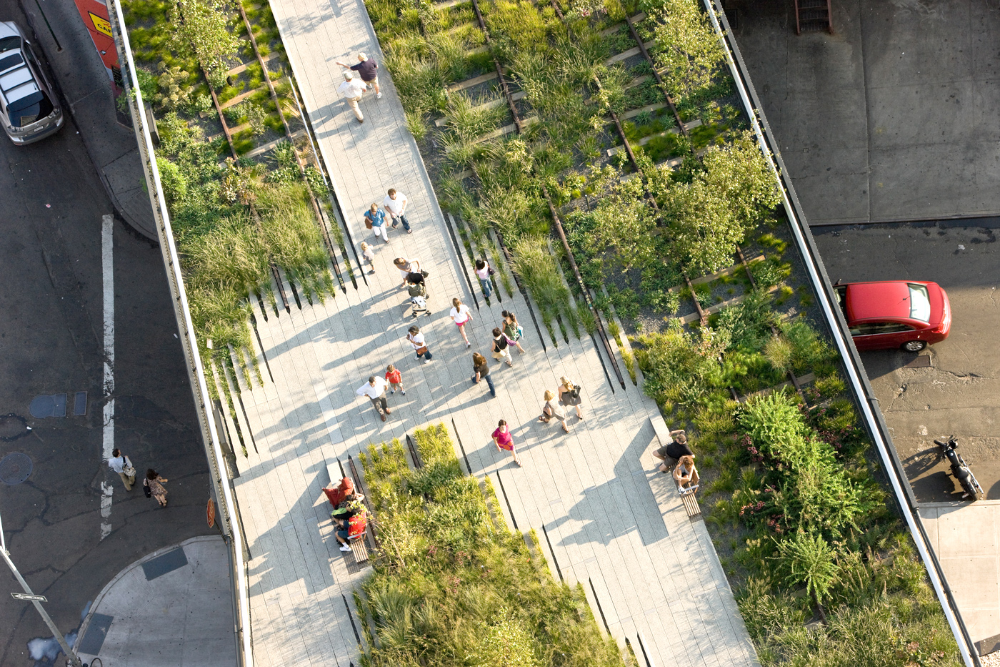 Overhead view of the High Line
