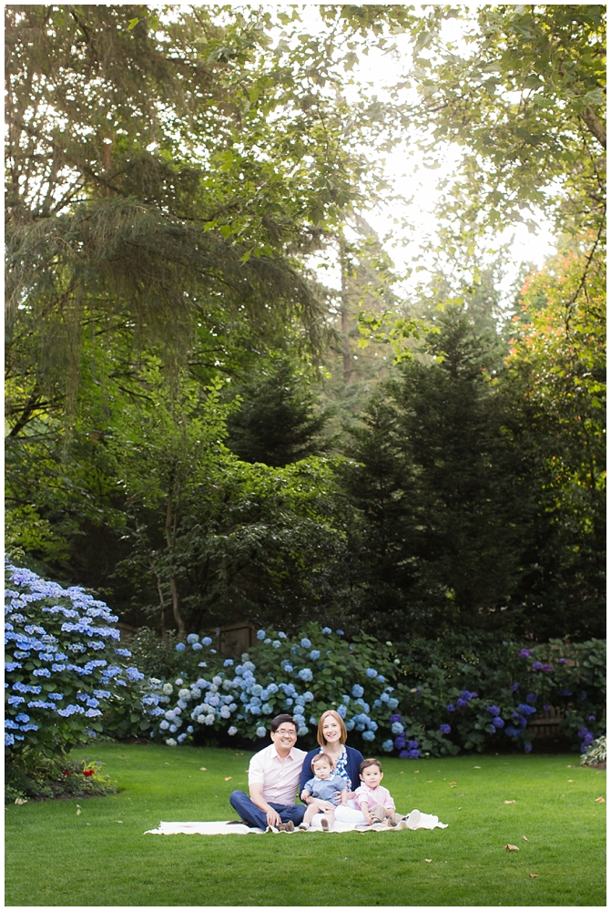 Family of four in green grass with sun shining through | How to run a great family photo session