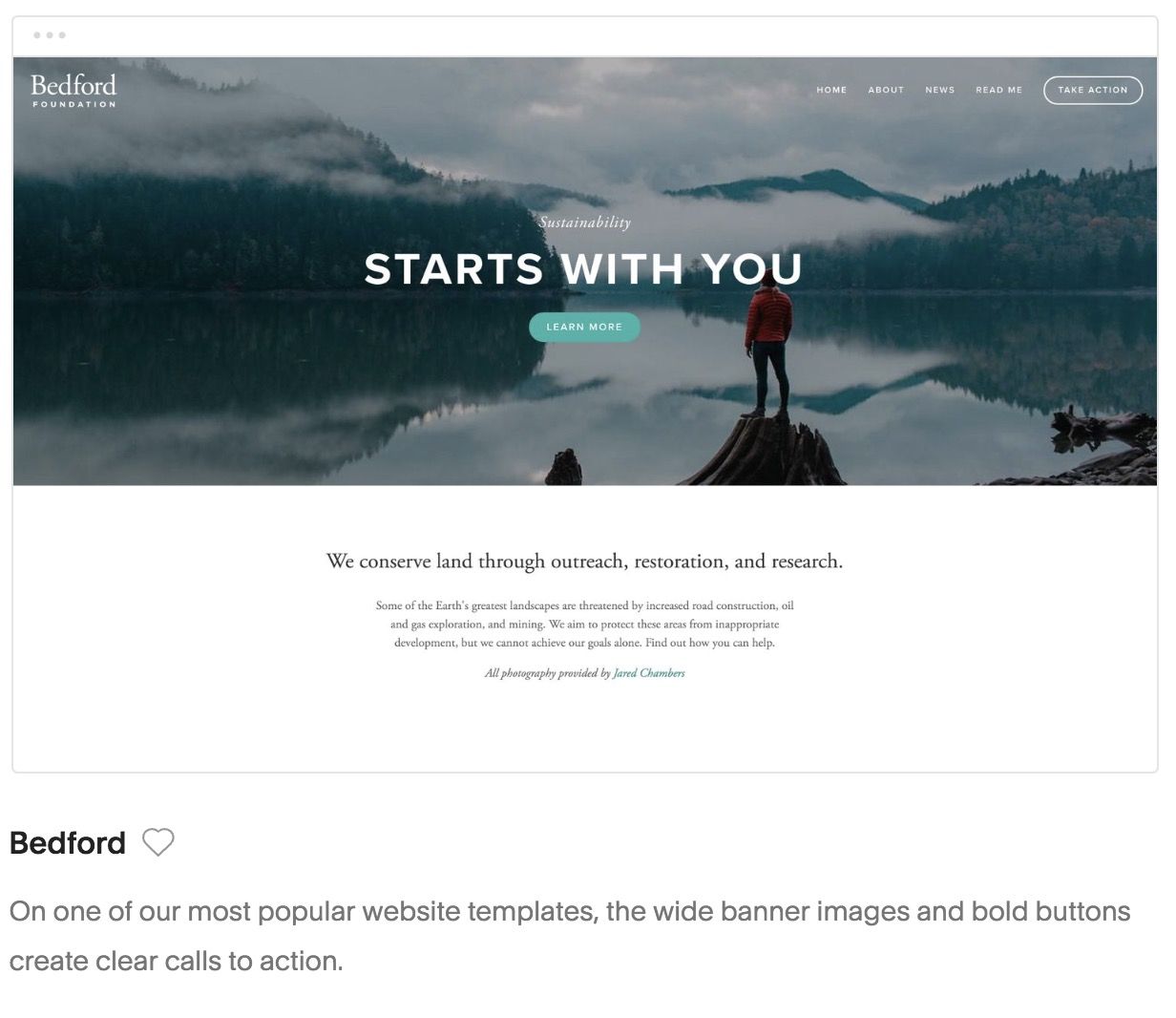 Bedford template Squarespace for photographers