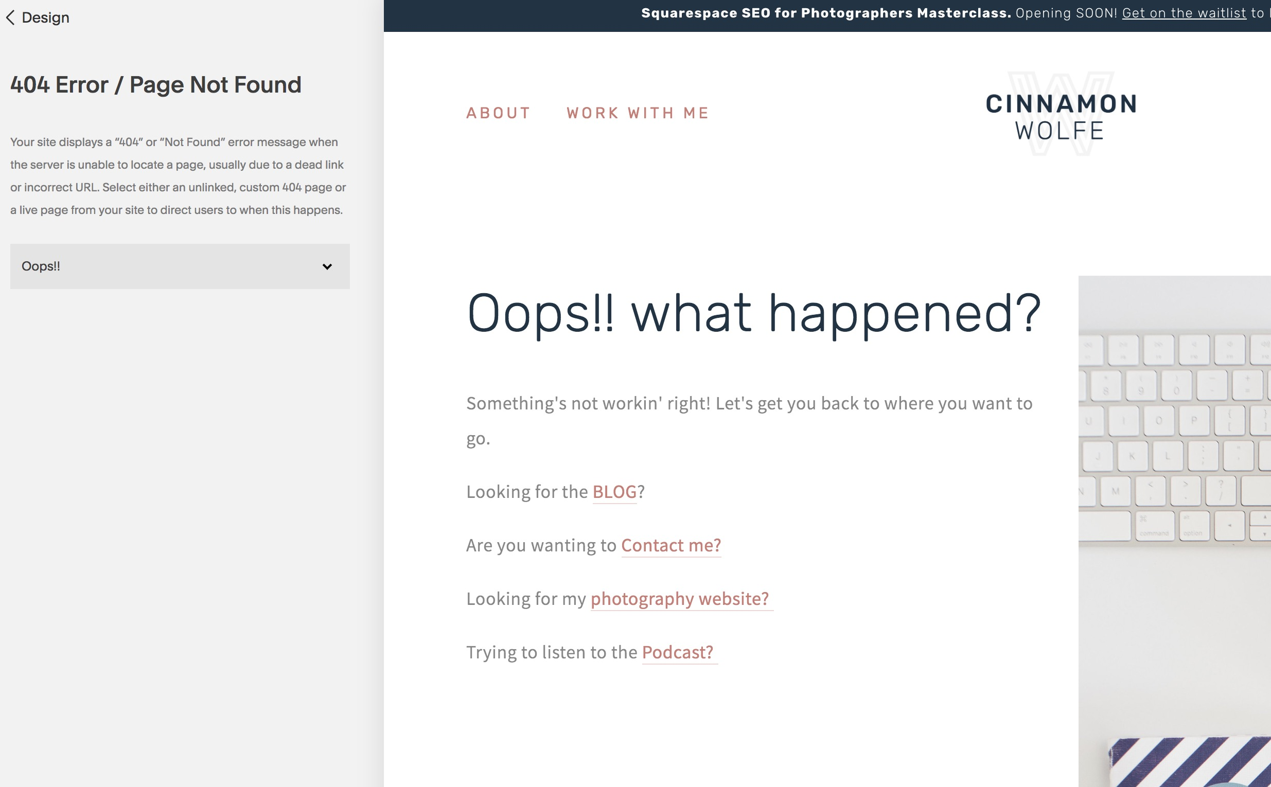 customize 404 page in Squarespace
