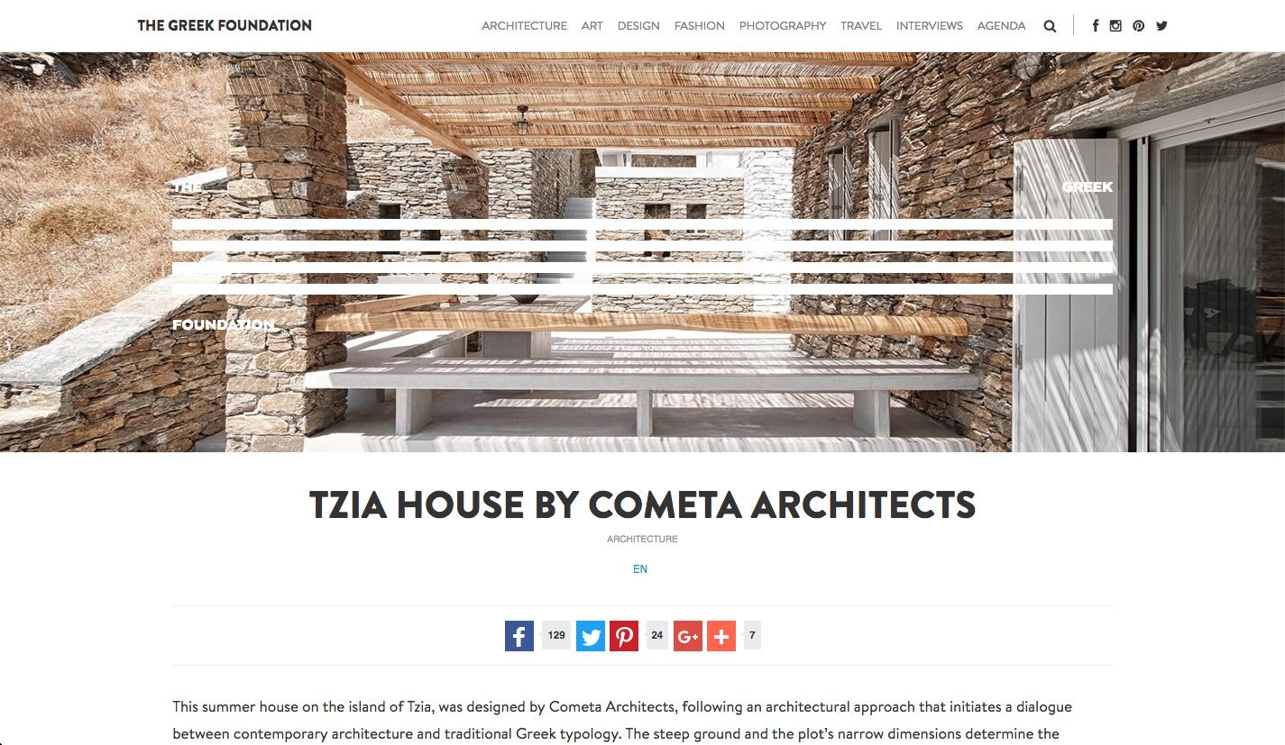 Publication of Rocksplit House in Tzia in   The Greek Foundation    03/2017