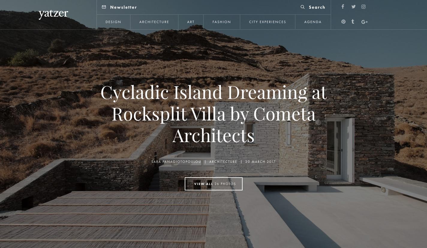 Rocksplit House in Tzia  by COMETA Architects in   Yatzer  , March 2017