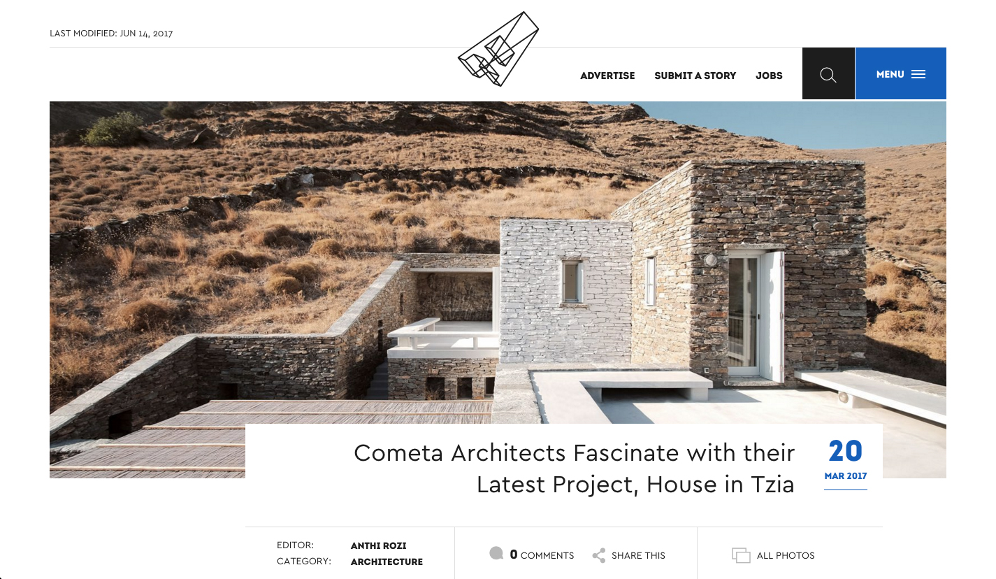 Rocksplit House  by COMETA Architects in  Archisearch , March 2017