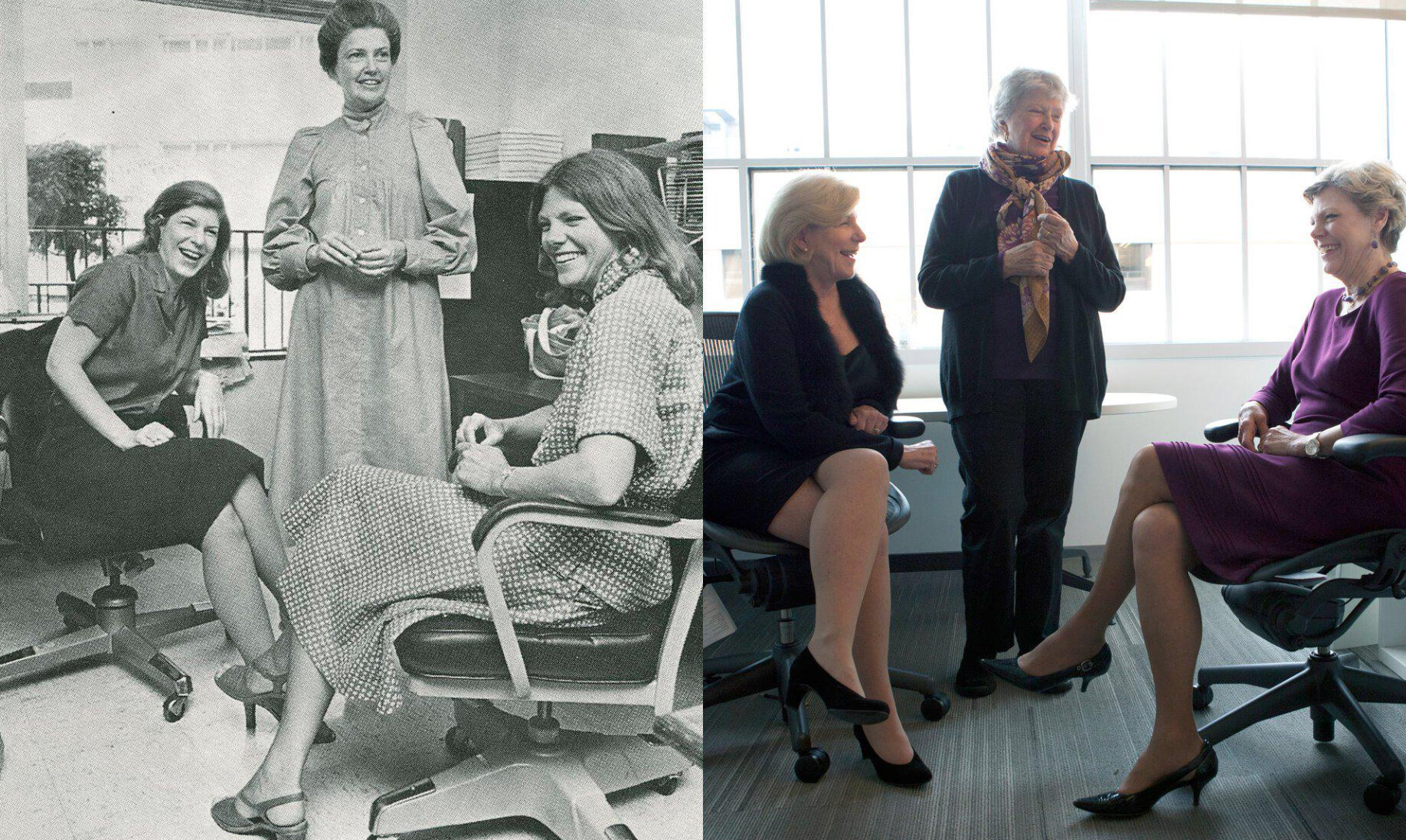 The Founding Mothers of NPR, circa 1979 and more recently (from left): Nina Totenberg, Linda Wertheimer, Cokie Roberts.