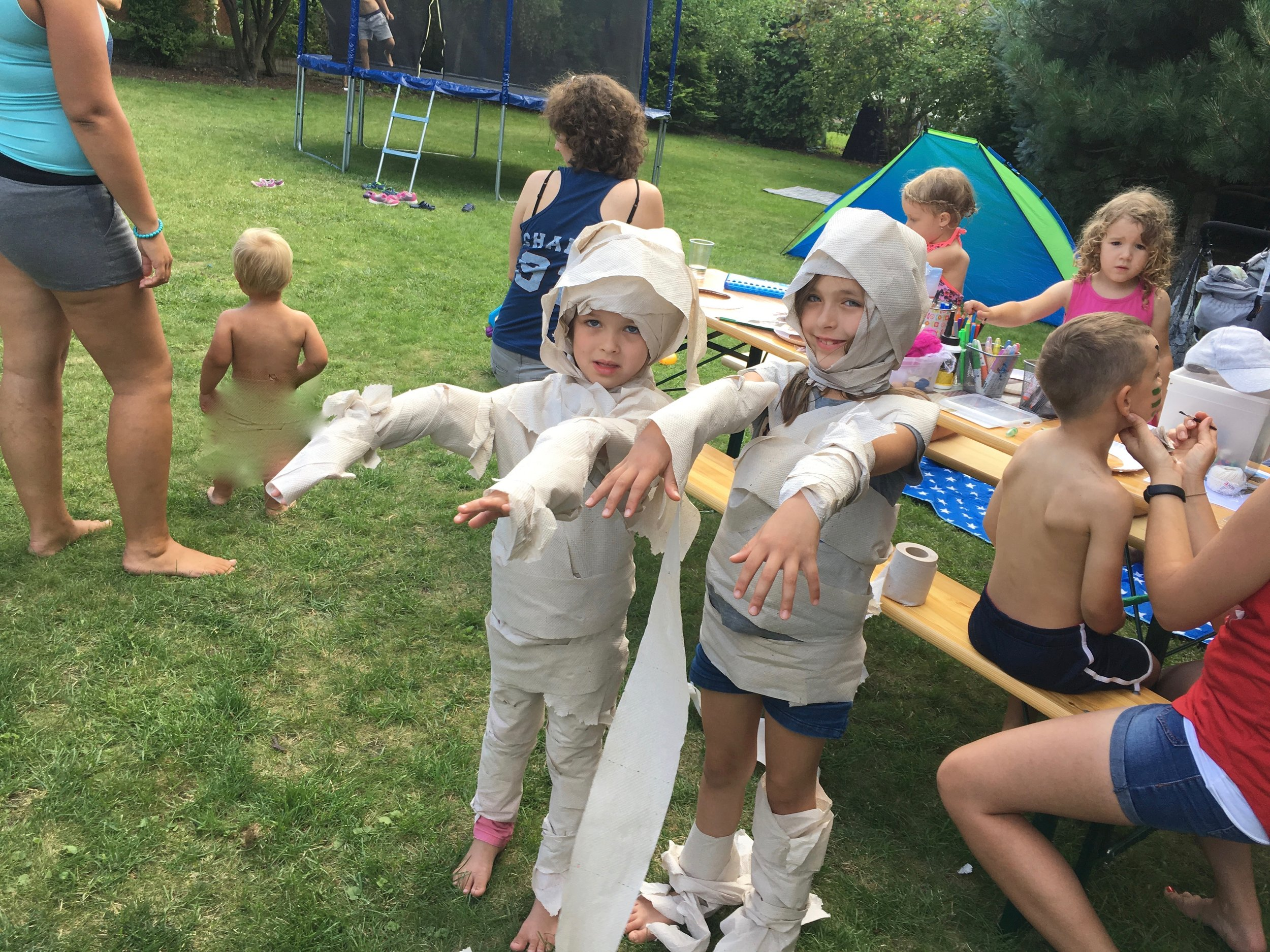 The kids made their way to Egypt and turned into mummies.