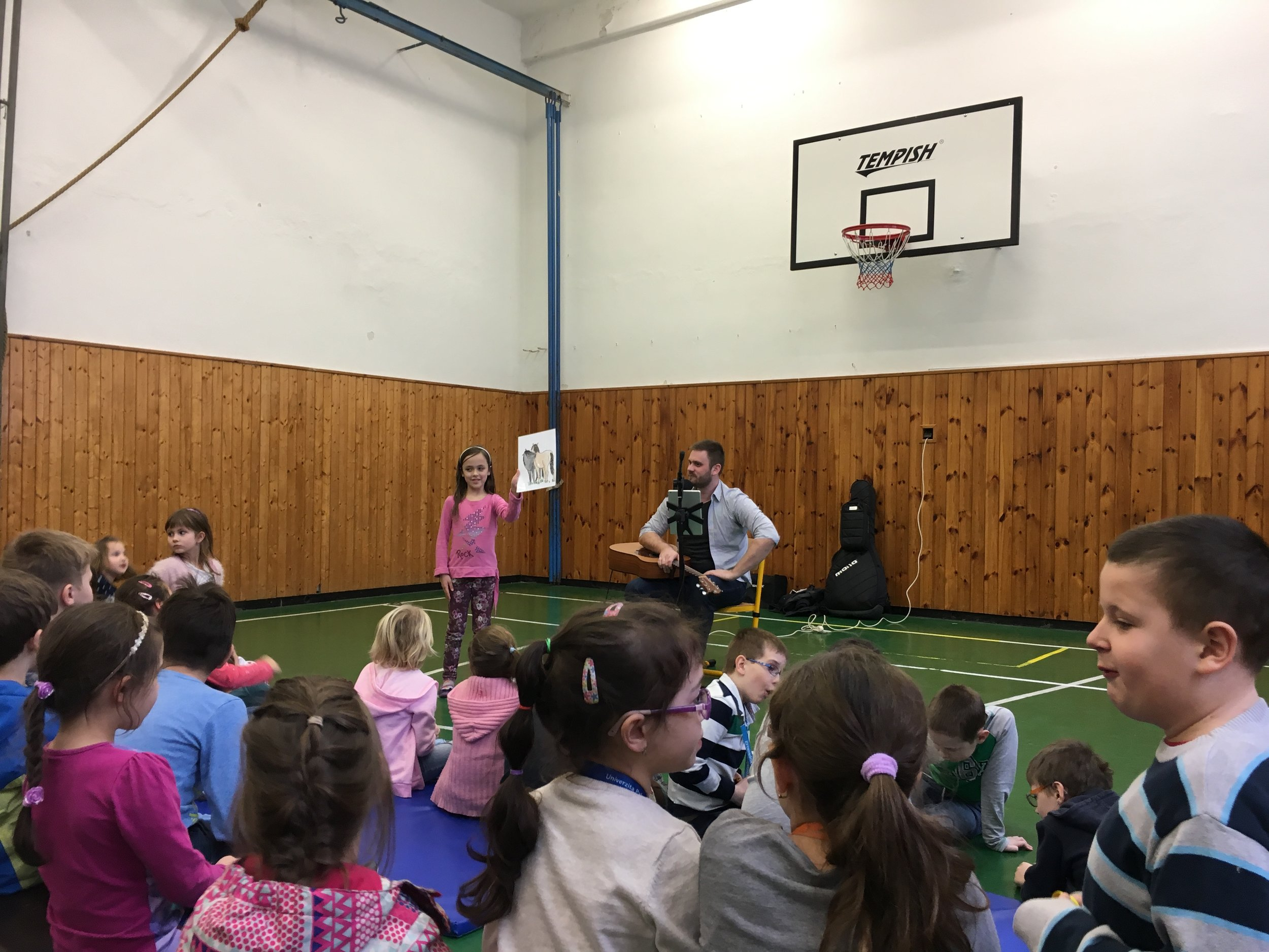 There was a special guest at Addey's school, and she was called on to present the next subject.