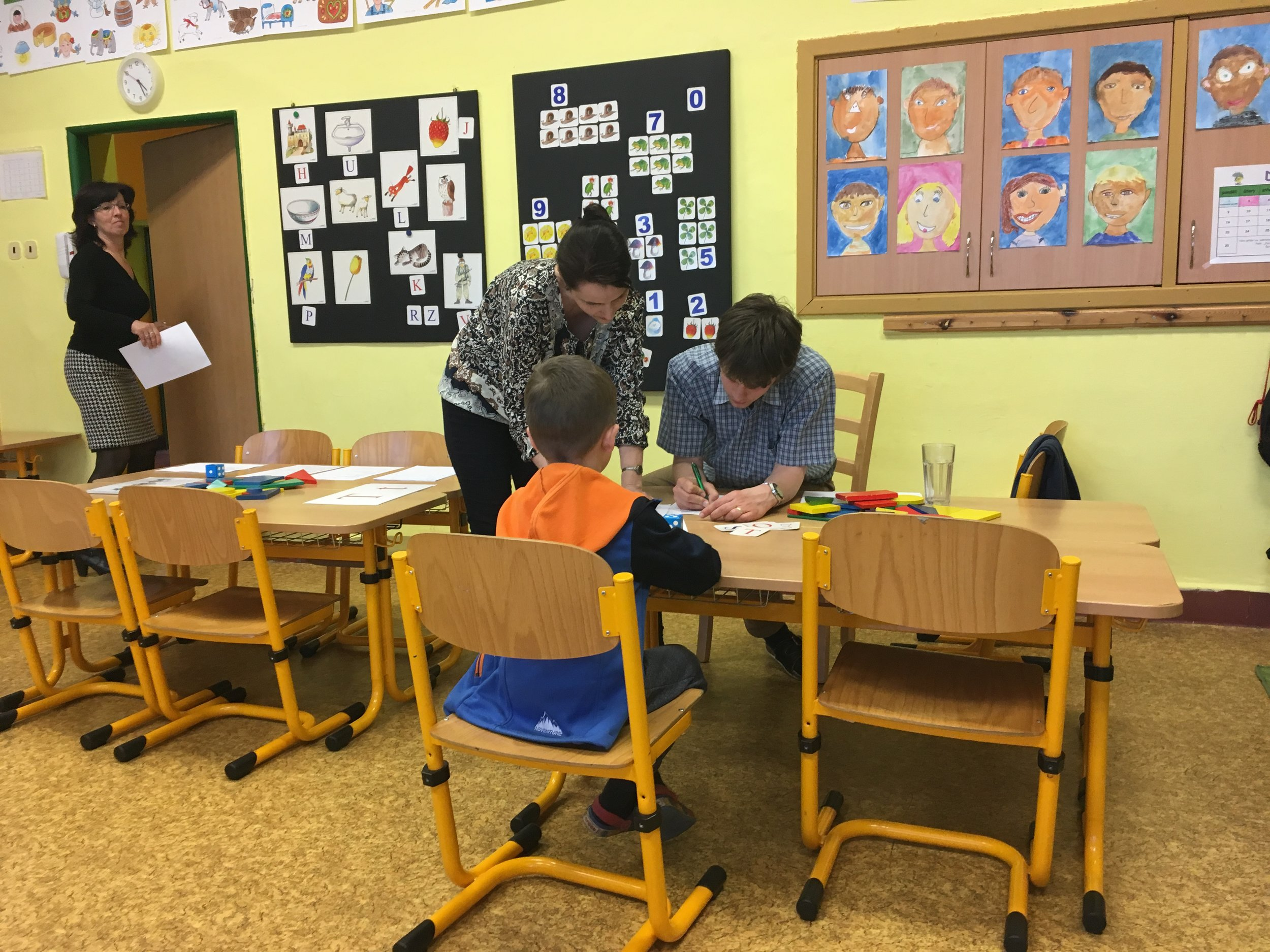 Andrew getting tested for 1st grade.