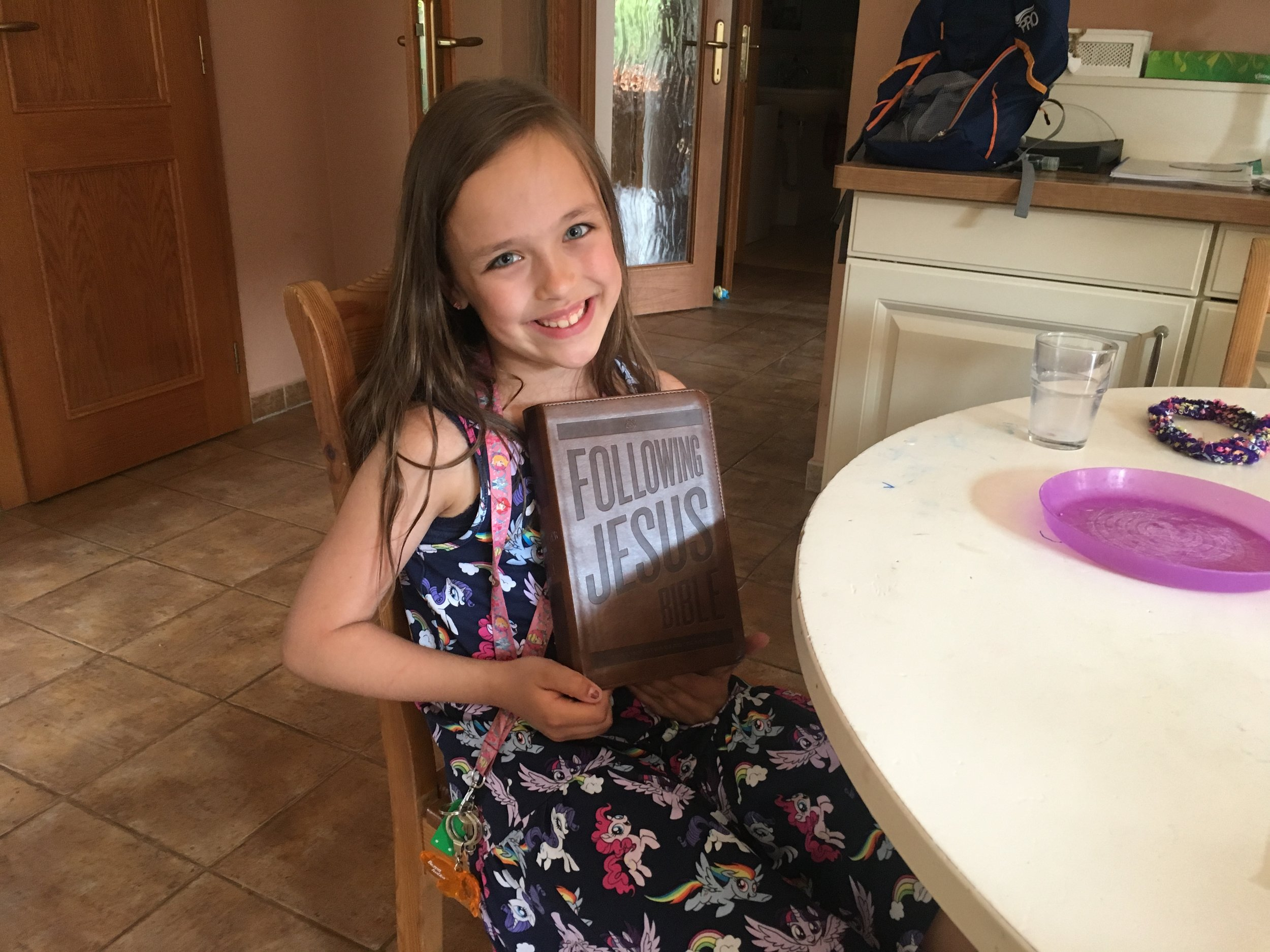 Addey has been very eager to have a Bible of her own, so she received her first Bible this month.