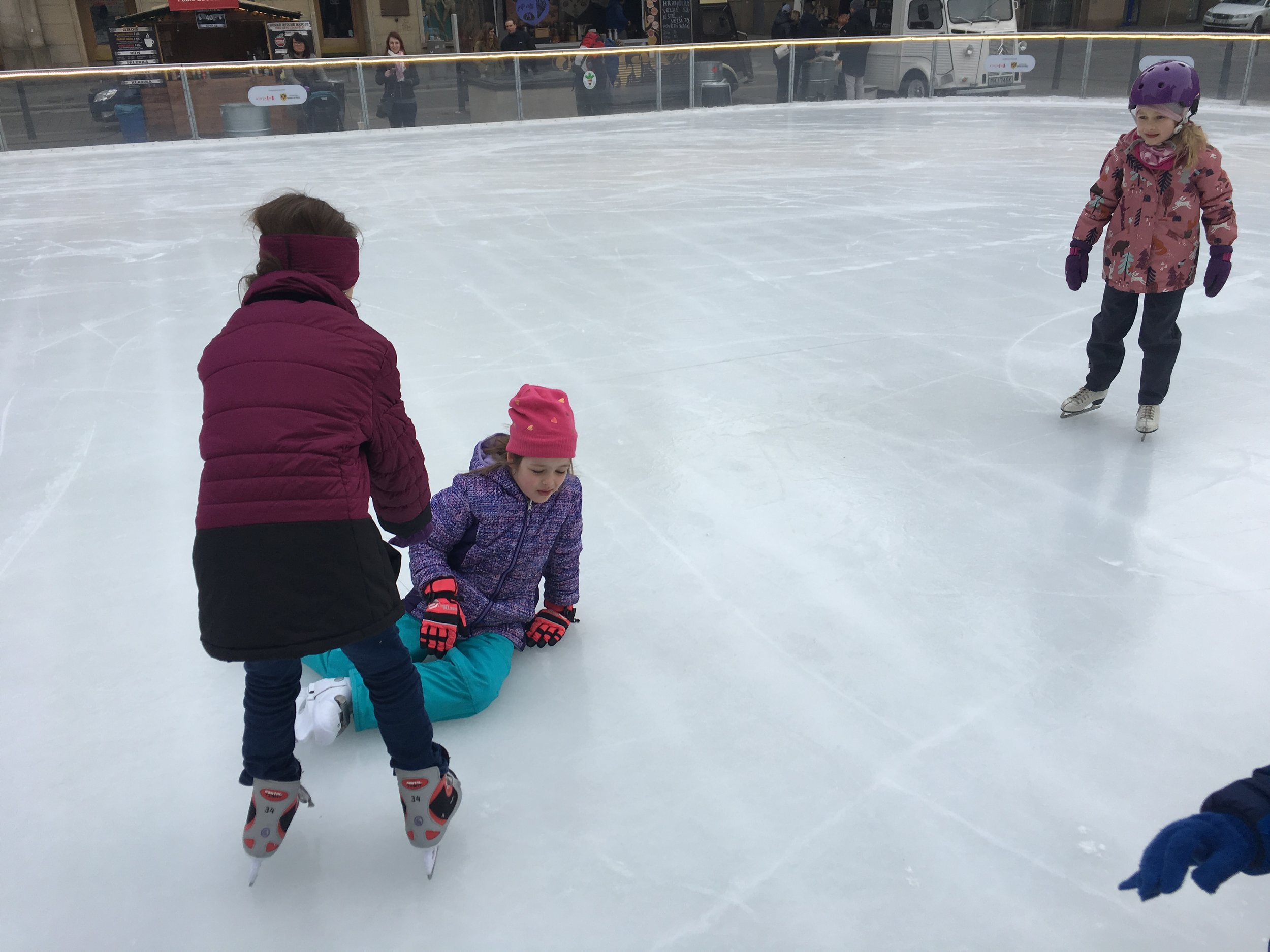 Kids ice skating in Brno…..Trying to.