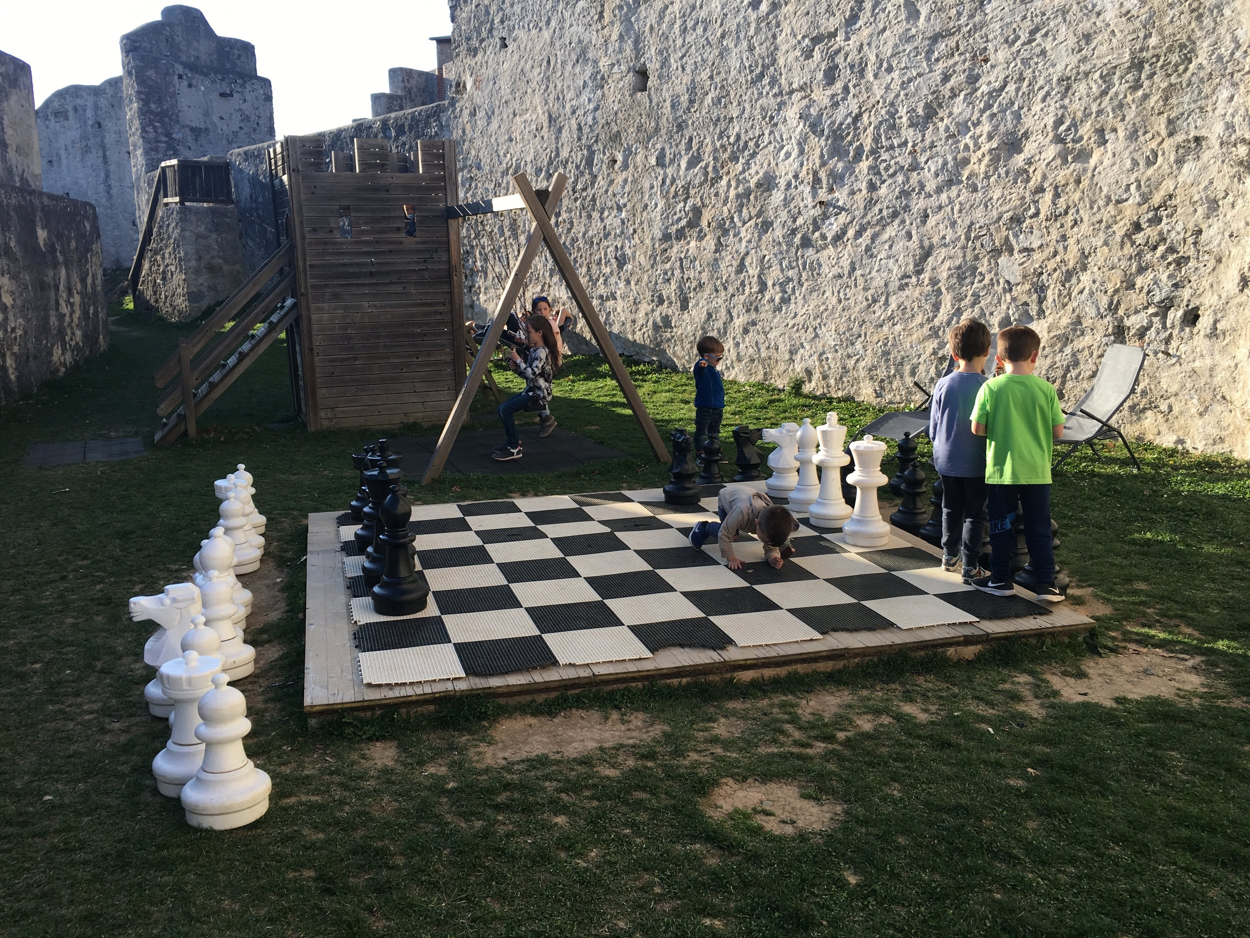 Visiting an old castle in Celje. The kids loved the massive chess board