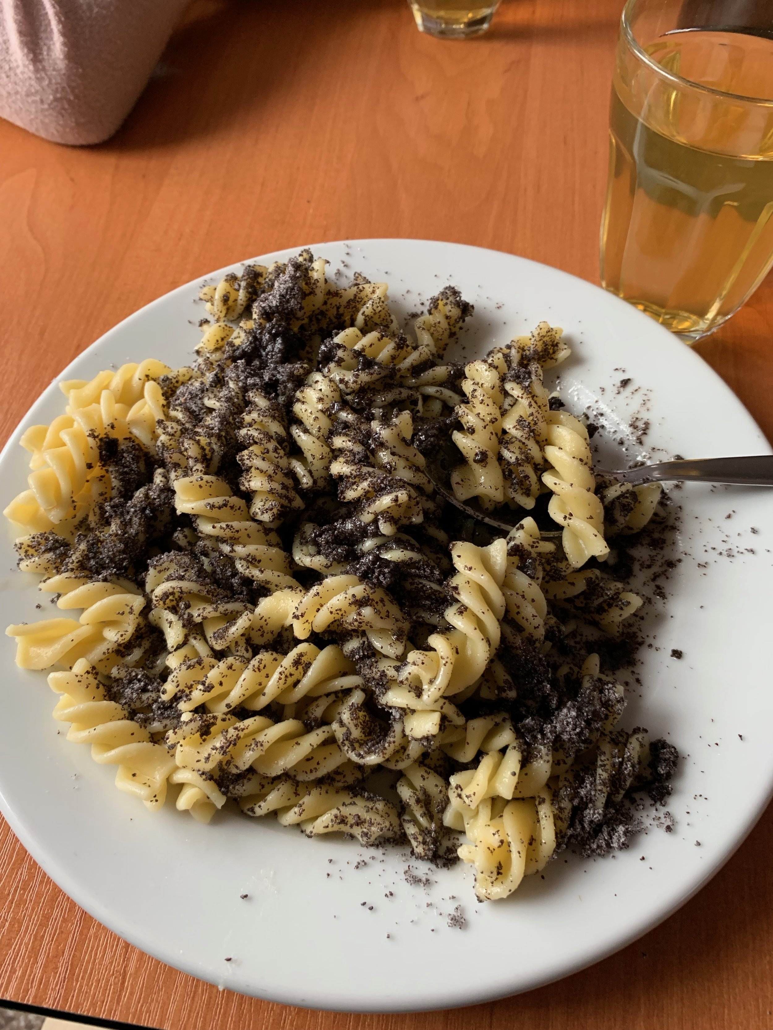 Camp food is always interesting in Czech. This is a noodle/poppy seed spread (Sladké nudle s mákem). I had no idea how this would taste at first, and it wound up being pretty good.