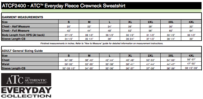 Sizing for the Crew Neck - please note this differs from the Tank.