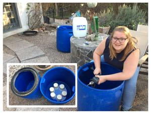Sarah puts together a six-piece biological ceramic- filter for the column-testing setup.