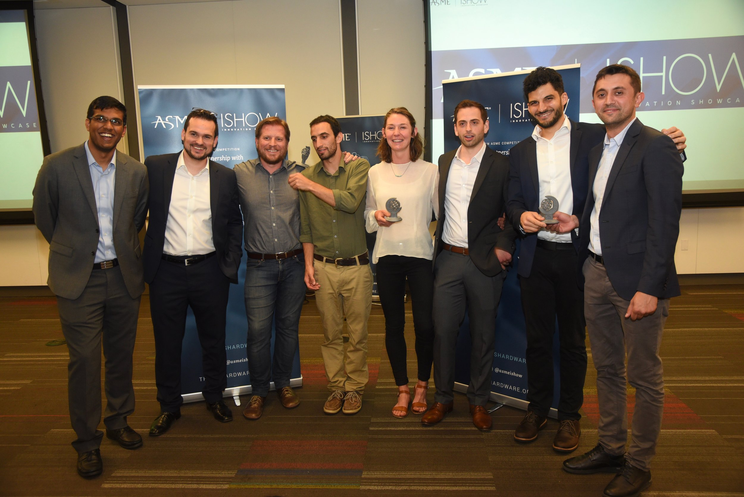All the winners together. The other two main teams presented unique solutions for egg incubation for income generation and a zero-energy form to introduce evenly distribute oxygen in ponds to increase yields for fisheries.