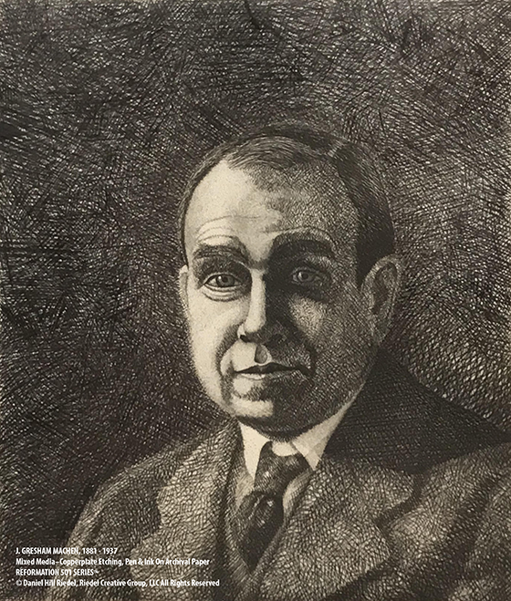 """J. Gresham Machen - Mixed Media on Archival Paper 5.75"""" x 6.75""""© Copyright Daniel Hill RiedelRiedel Creative Group, LLCAll Rights Reserved"""