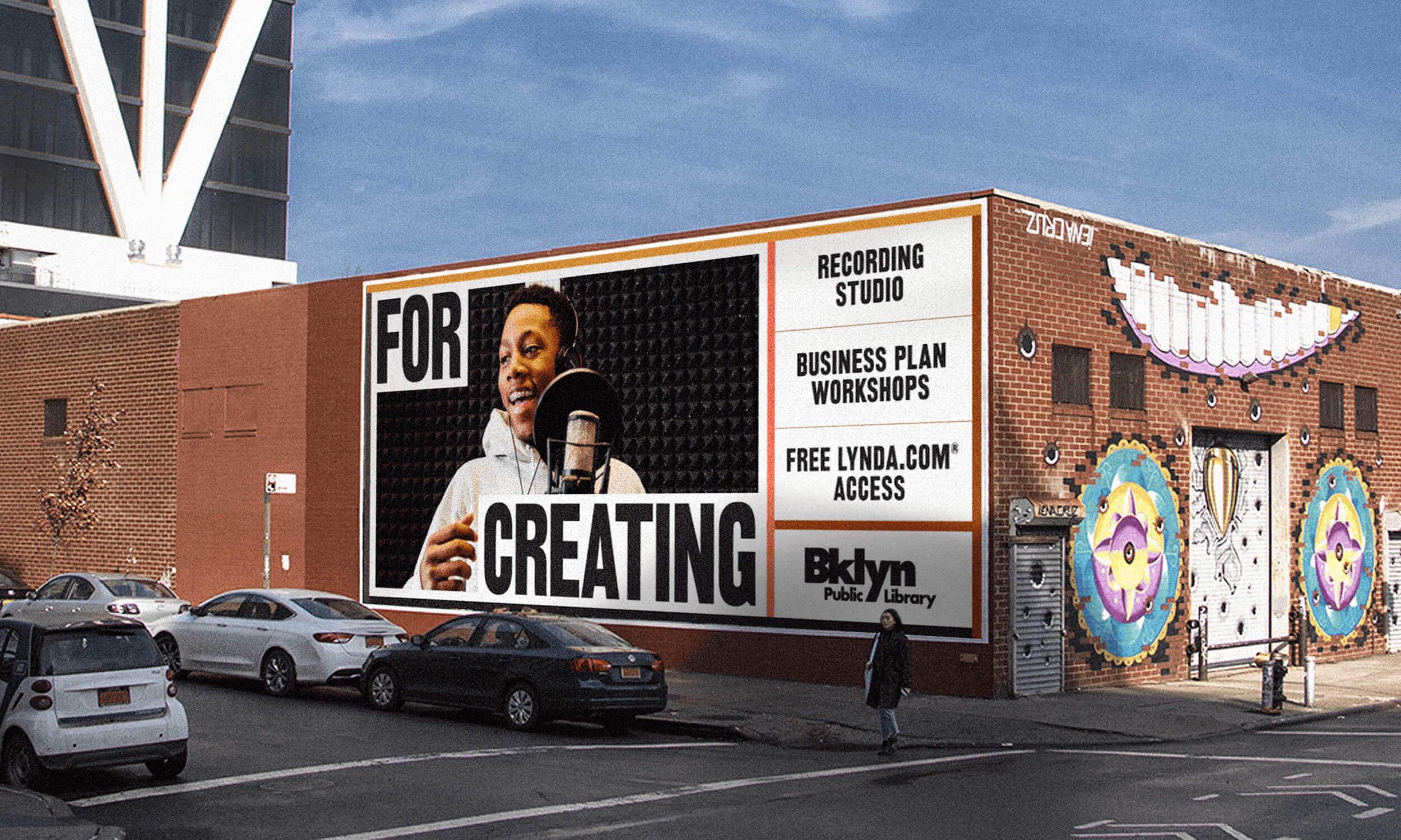 """FOr brooklyn - The """"For Brooklyn"""" advertising campaign seeks to reintroduce the Brooklyn Public Library to all of Brooklyn's 2.6 million residents by answering the question, """"What is the Library for in 2019?"""" There are currently 52 different """"For…"""" iterations in the campaign launch, with more planned. The campaign features portraits of patrons photographed by Brooklyn-based artist and street photographer Andre D. Wagner and portrait photographer Arturo Olmos.Client: Brooklyn Public LibraryRole: Junior Designer for Campaign DevelopmentStudio: Bellweather Agency"""