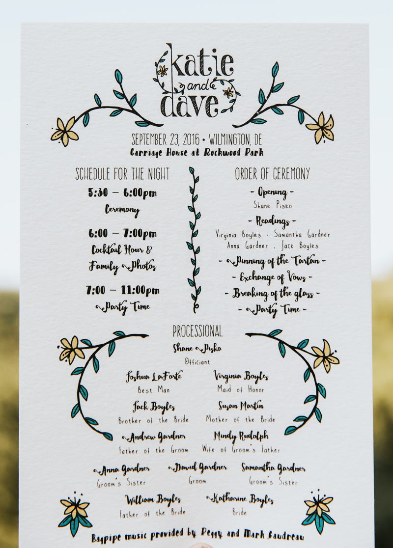 Katie & Dave's Wedding Program
