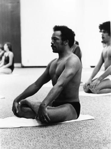 Jones in Padmasana or Lotus Pose.