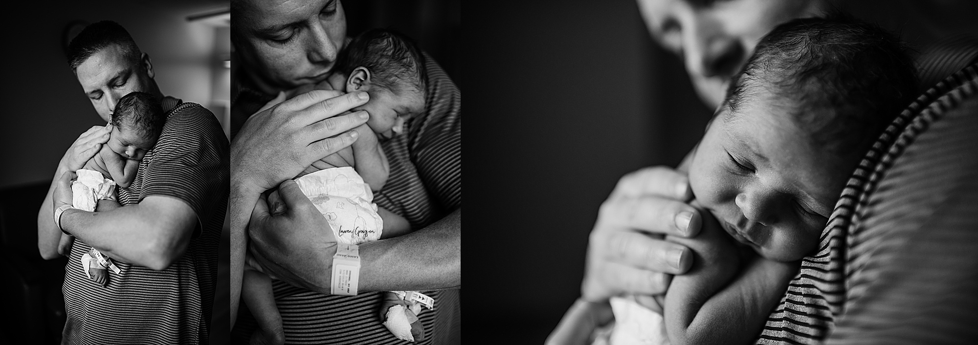 akron photographer, fresh 48 session, hospital newborn photos, dad holding baby