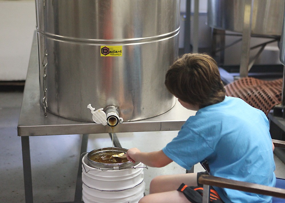 The honey can then flow from the barrel and into a strainer. The strainer offers just enough filtering to remove any stray bee parts that might have made there way into the process. In this process, little to no heat was used and the straining is minimal, so the end product is as raw as possible.