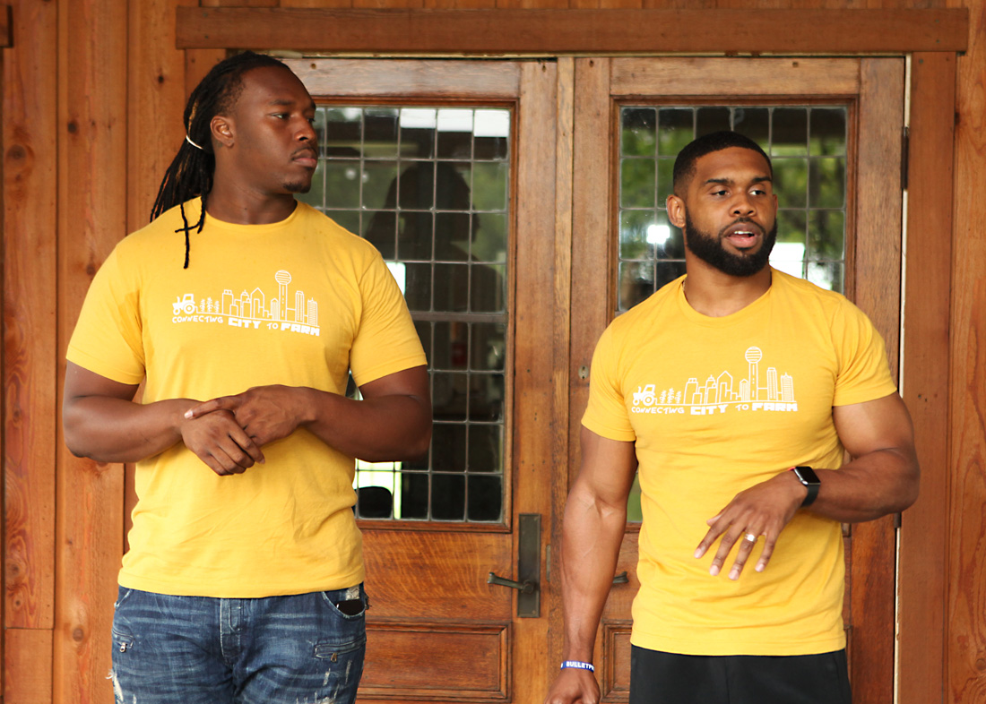 Reshod Fortenberry and Marvin Walker speaking on health and nutrition at Nature Nate's farm.