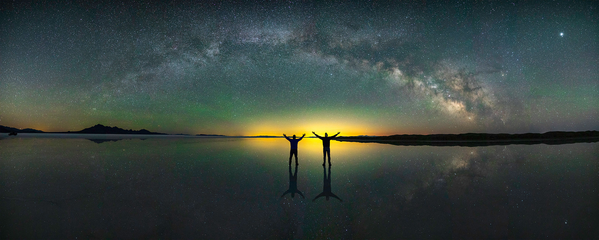 Photo by Aaron King. Bonneville Salt Flats reflected Milky Way. June 2nd, 2018 Panorama 24mm F2 8 seconds 8000 iso.