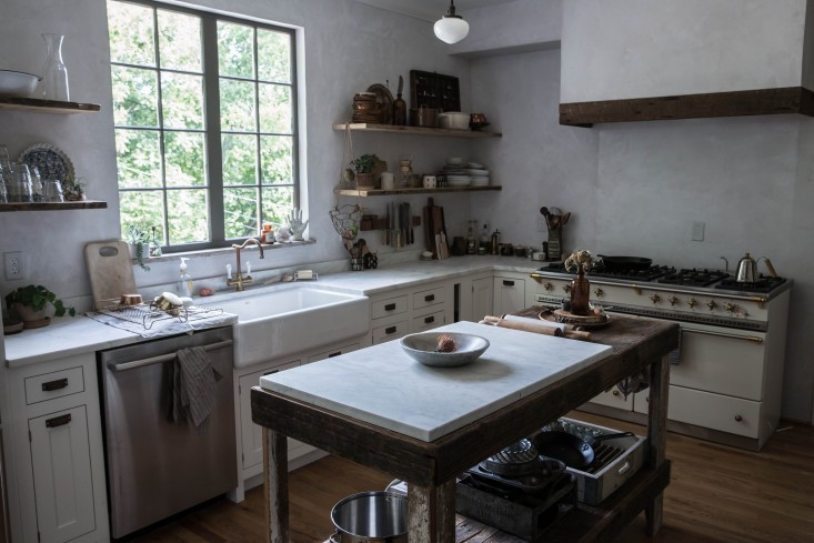 Marble makes a great work surface for baking because it keeps pastry at its required cool temperature- the key to successful pies. If a full marble kitchen is out of the budget, try using a single slab like Beth used on her island.