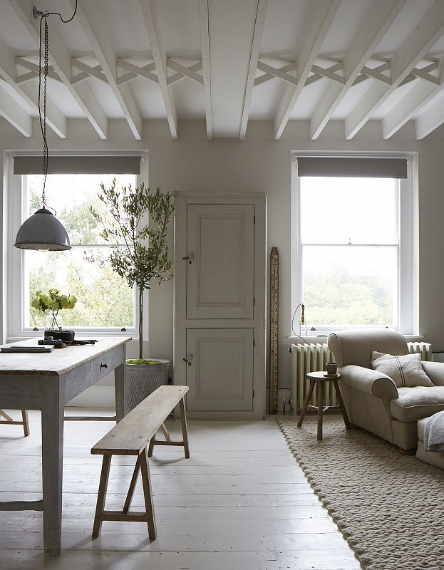 Maybe it's not everyone's cup of tea, but I love the all-neutral colour palette. The missmash of rustic textures keep it from looking sterile or unwelcoming.