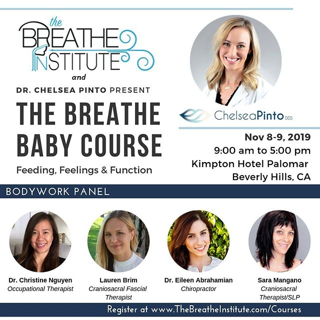 So excited for The Breathe Baby course hosted by @drchelseapinto !! Come connect and learn with other professionals about the effects of tongue ties for babies, and how a multidisciplinary approach can help achieve optimal results! This course is available to all allied health professionals that work with infants (chiropractors, dentists, PTs, craniosacral therapists, IBCLC, doulas, etc.) Feel free to reach out if you are interested in signing up! 🤗