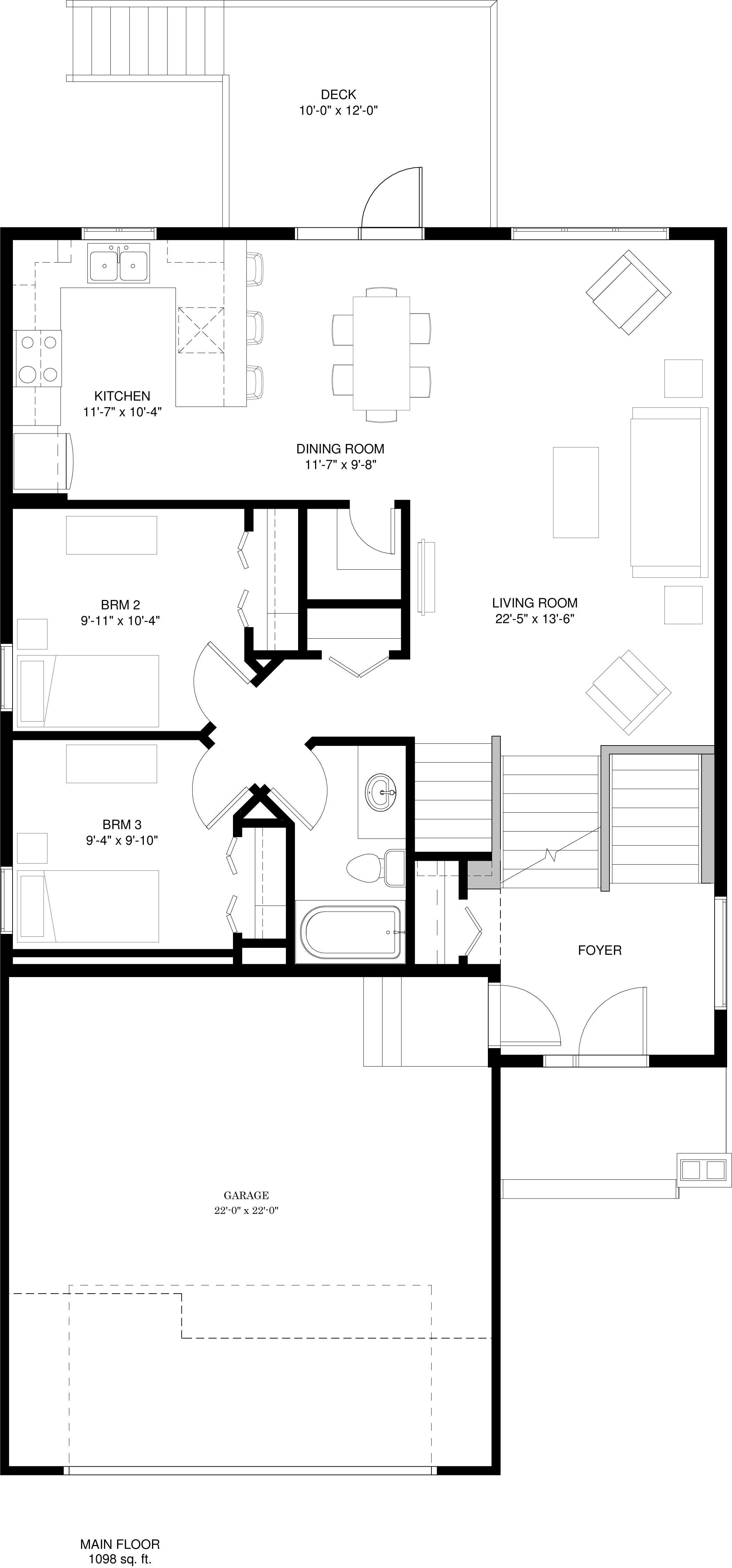 Main Floor  1098 sq ft