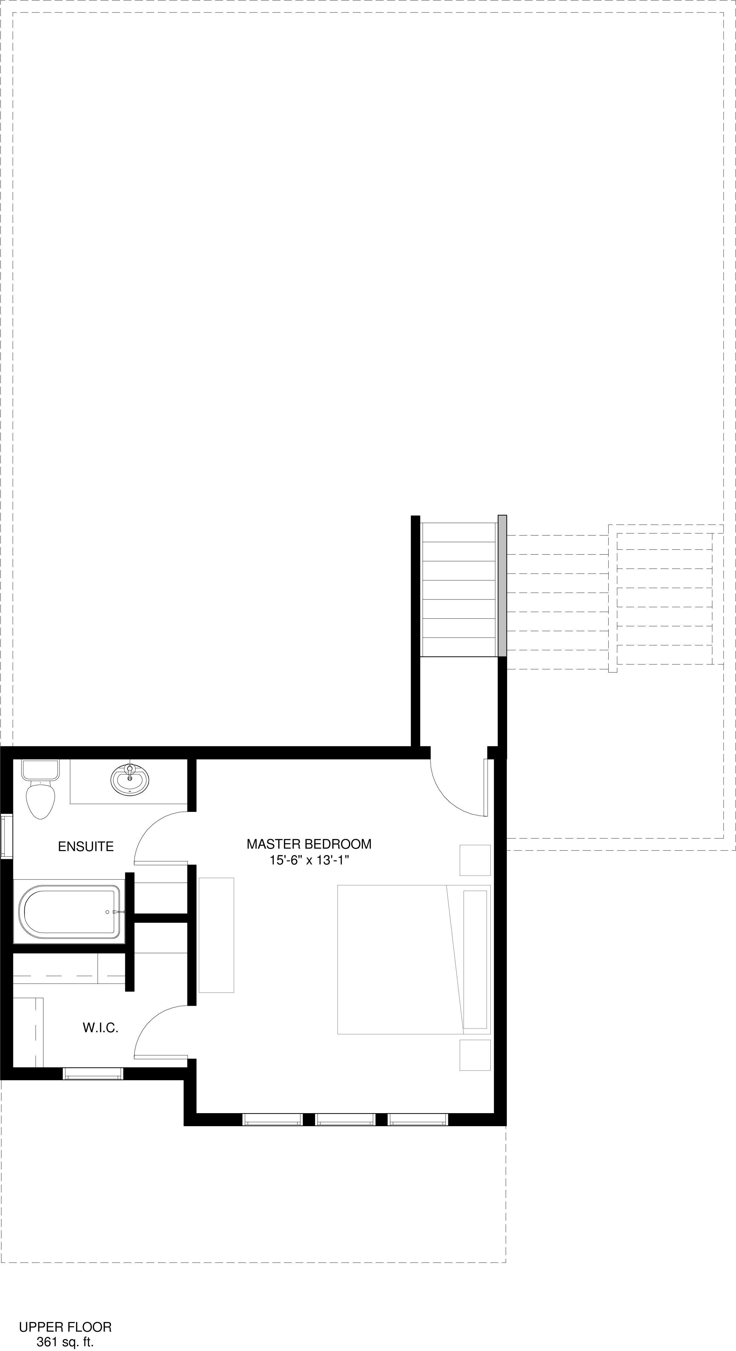 Upper Floor  Master retreat 361 sq ft