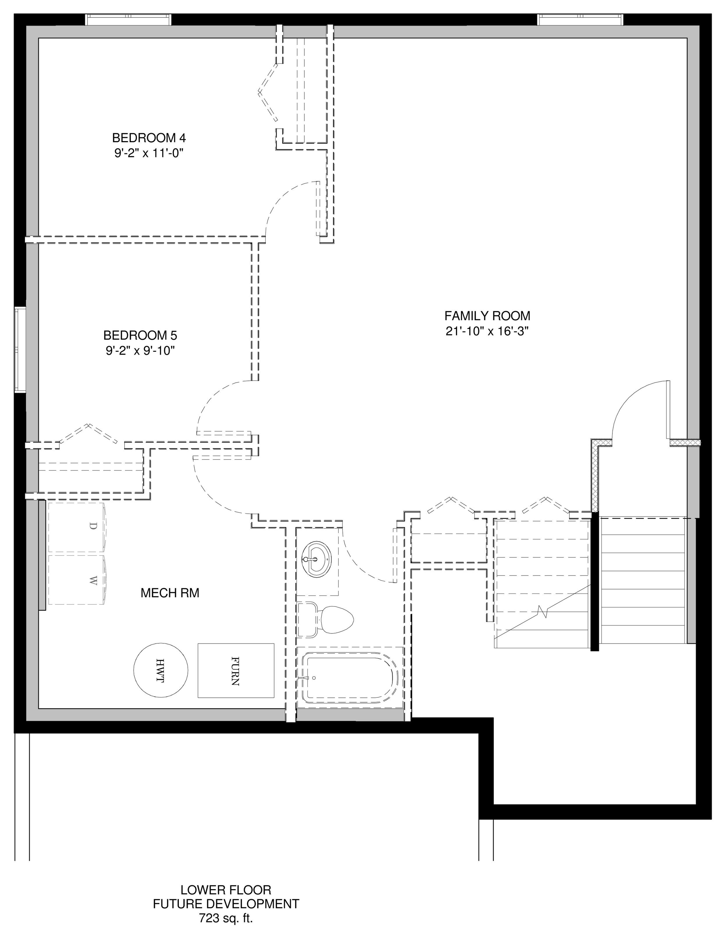 Lower Floor Future Development  723 sq ft