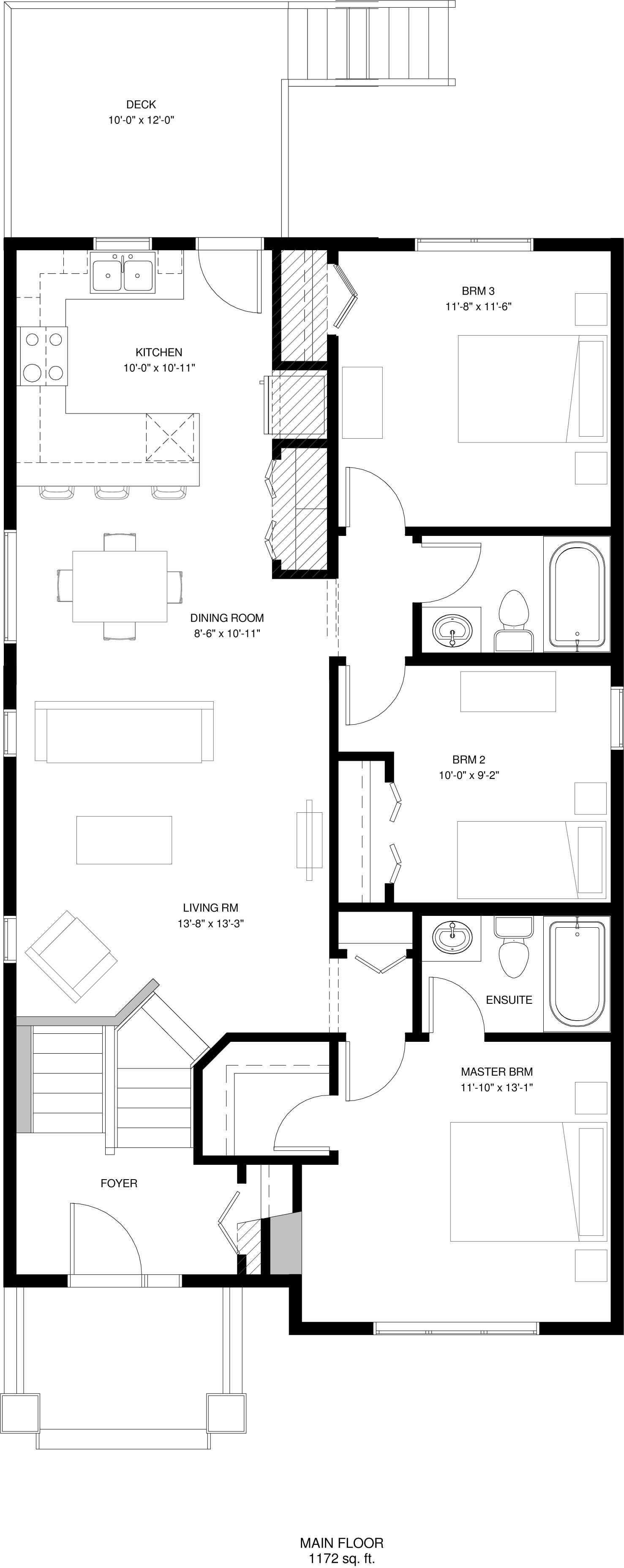 Main Floor   Optional Kitchen  1172 sq ft