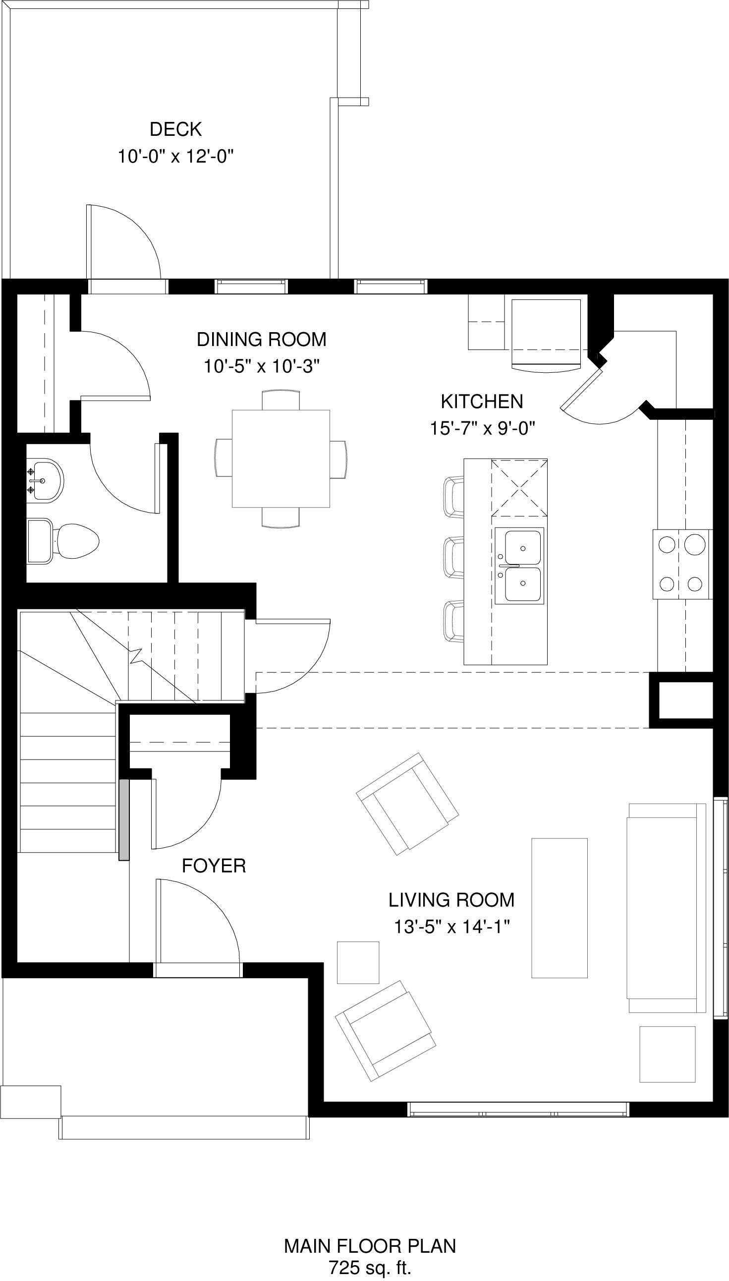 Main Floor  725 sq ft