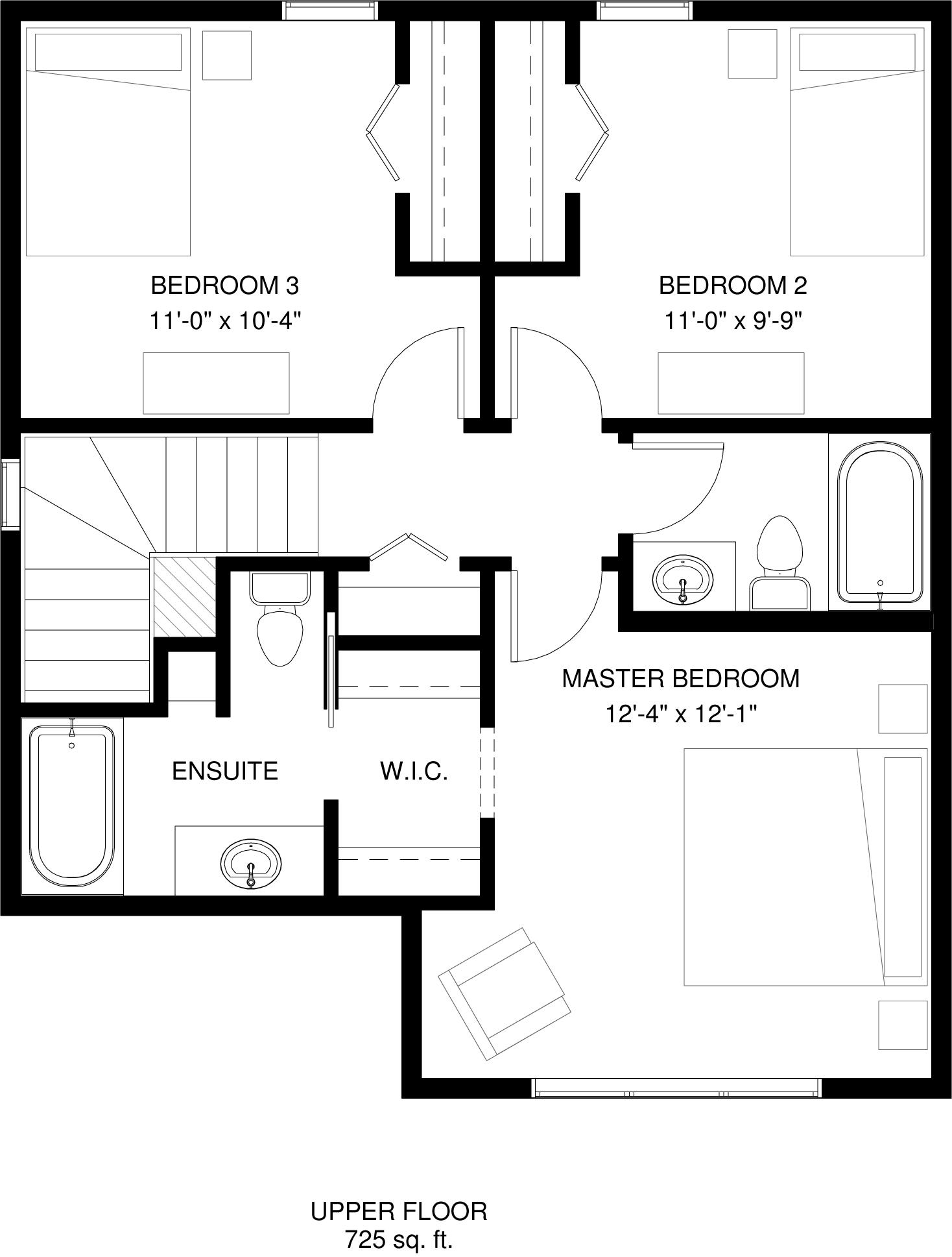 Upper Floor   725 sq ft