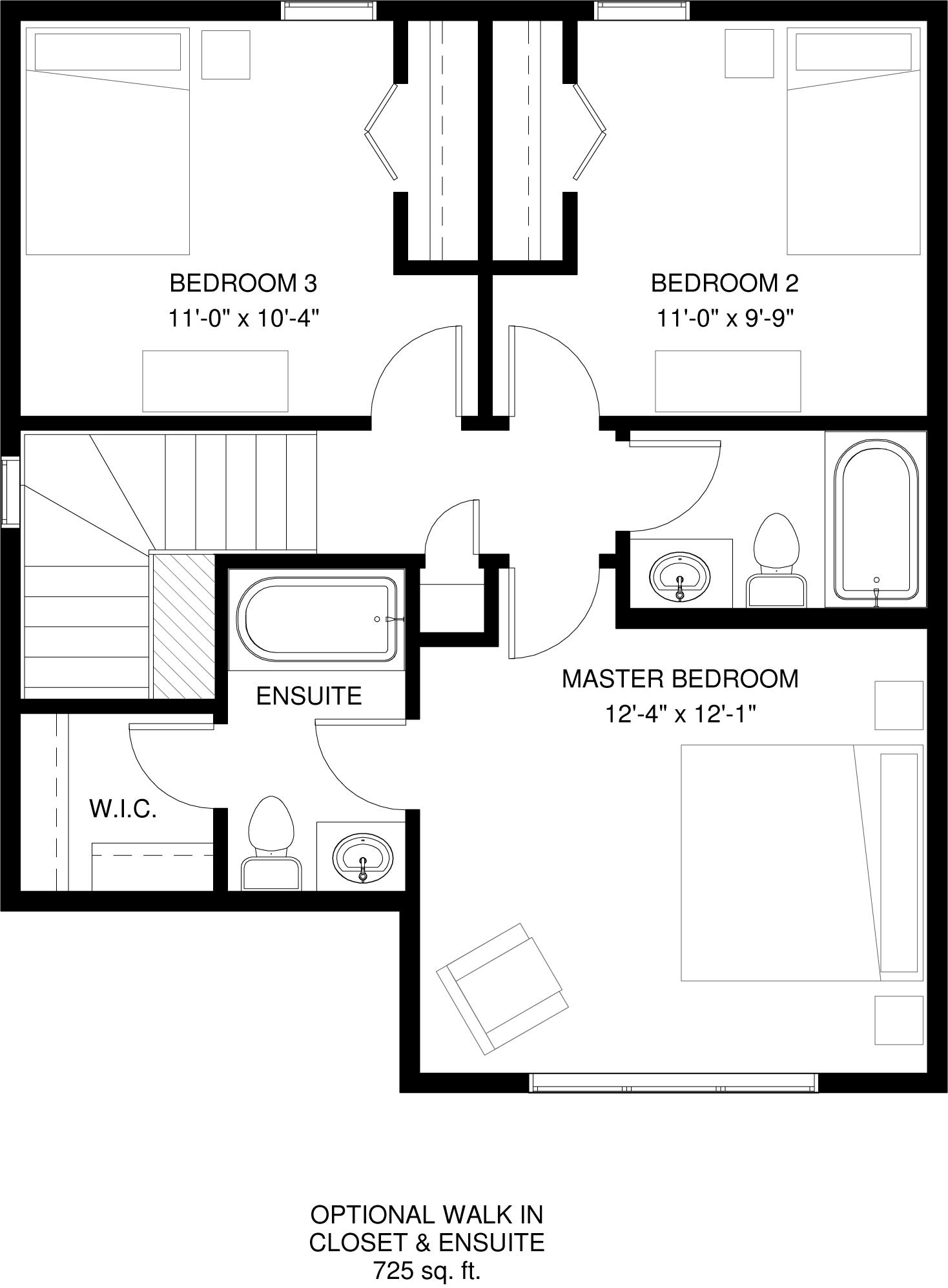 Upper Floor Optional Ensuite   725 sq ft