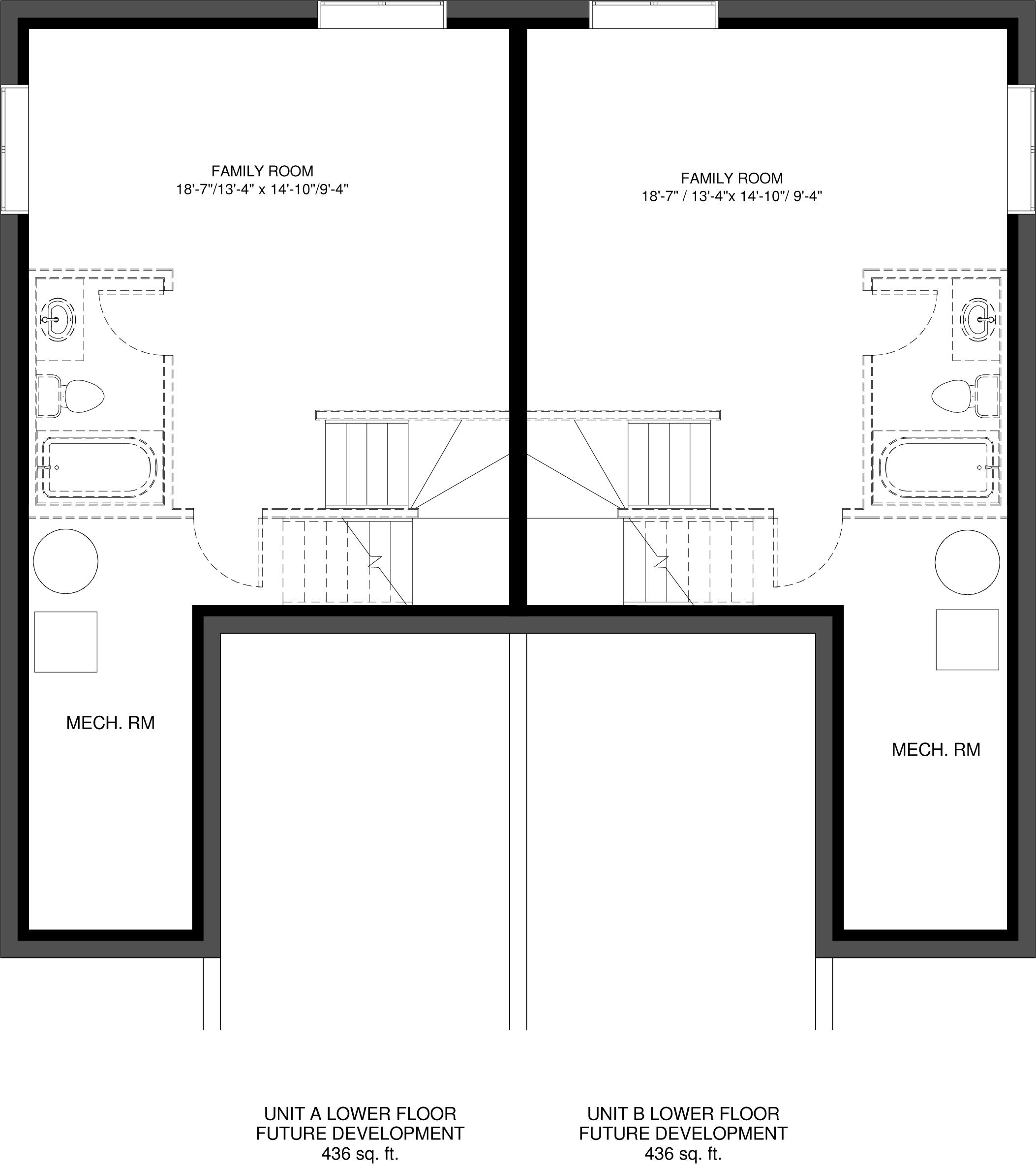 Lower Floor Future Development   Unit A 436 sq ft  Unit B 436 sq ft