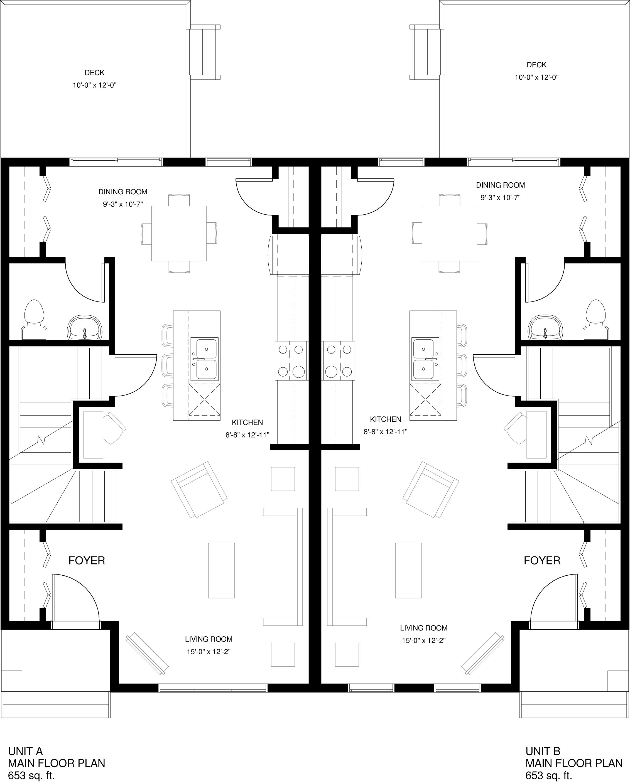 Main Floor  653 sq ft per Unit